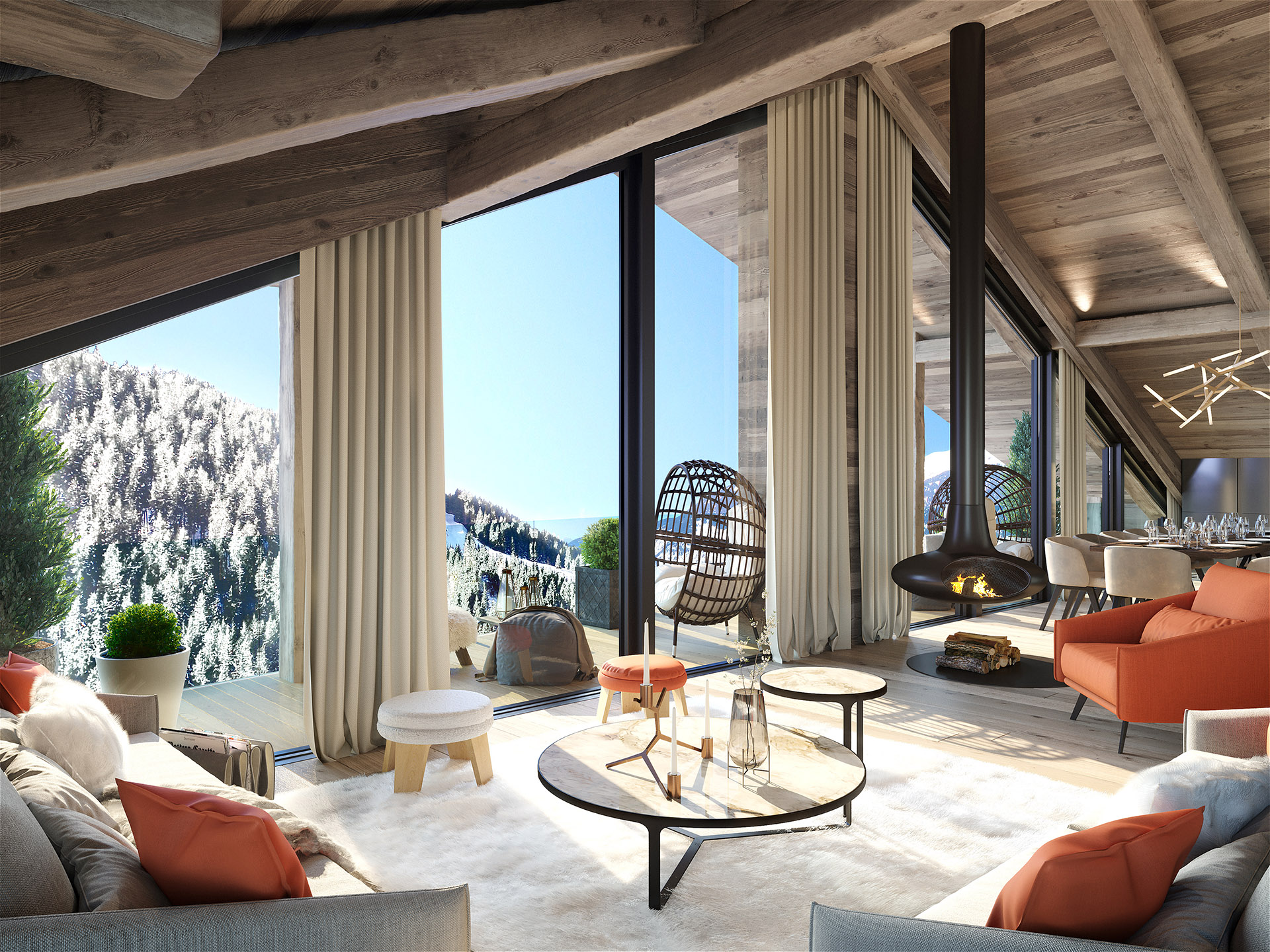3D rendering of a chalet living room with terrace and mountain view