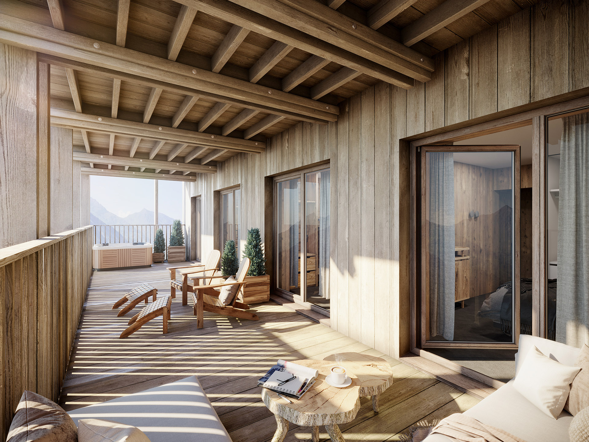 3D computer generated image of a chalet terrace