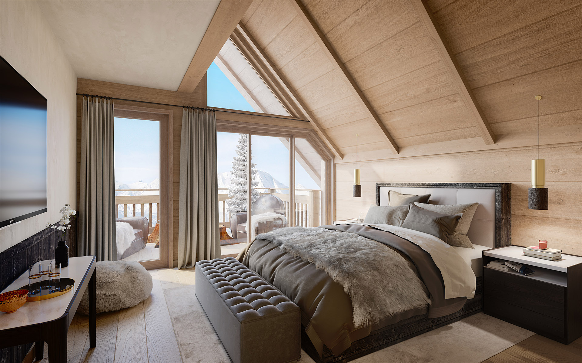 3D perspective of a modern room in a mountain chalet