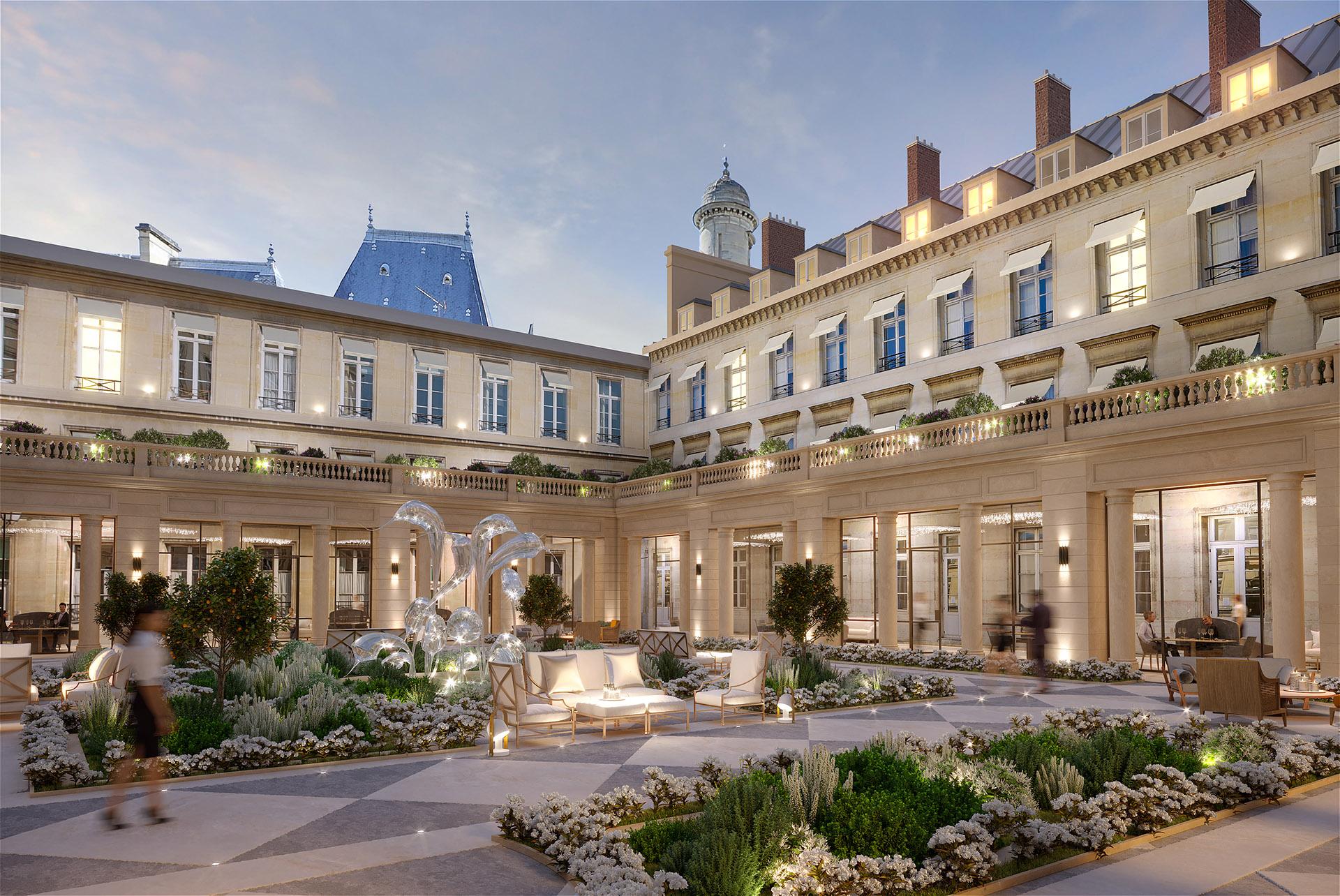 3D creation of an illuminated courtyard in Paris
