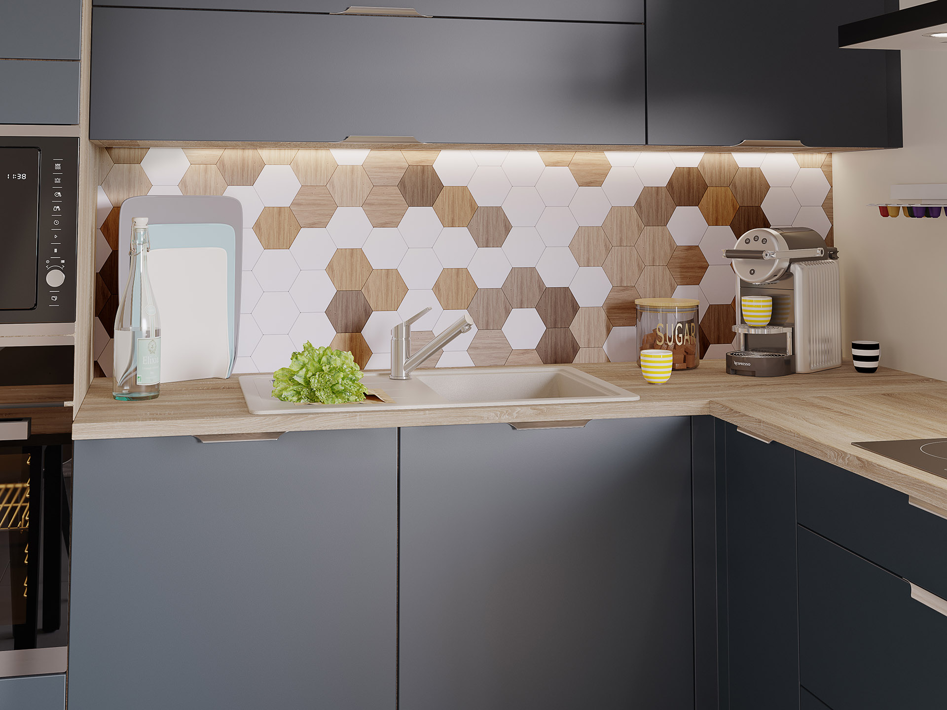 Sink corner of a modern black and wood kitchen in 3D