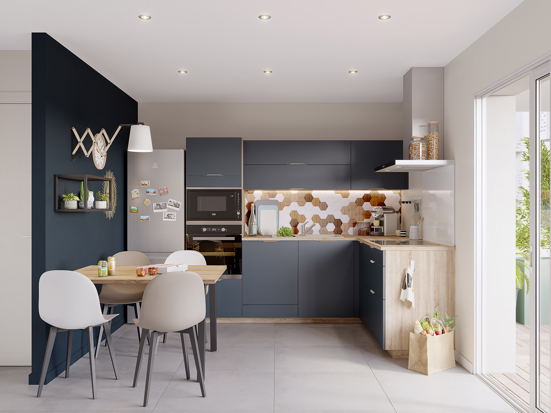 3D image of a modern open kitchen in black and wood