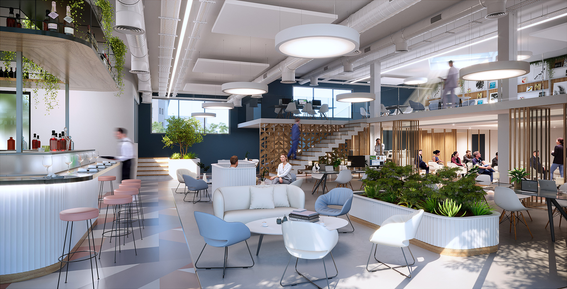 3D visualization of a modern space of relaxation and meal in company