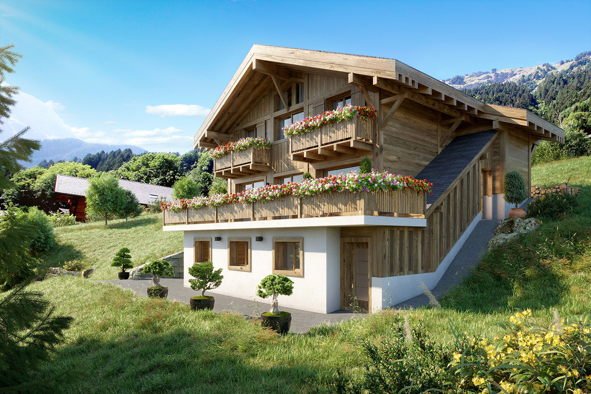 3D visualization of the exterior of a mountain chalet in summer