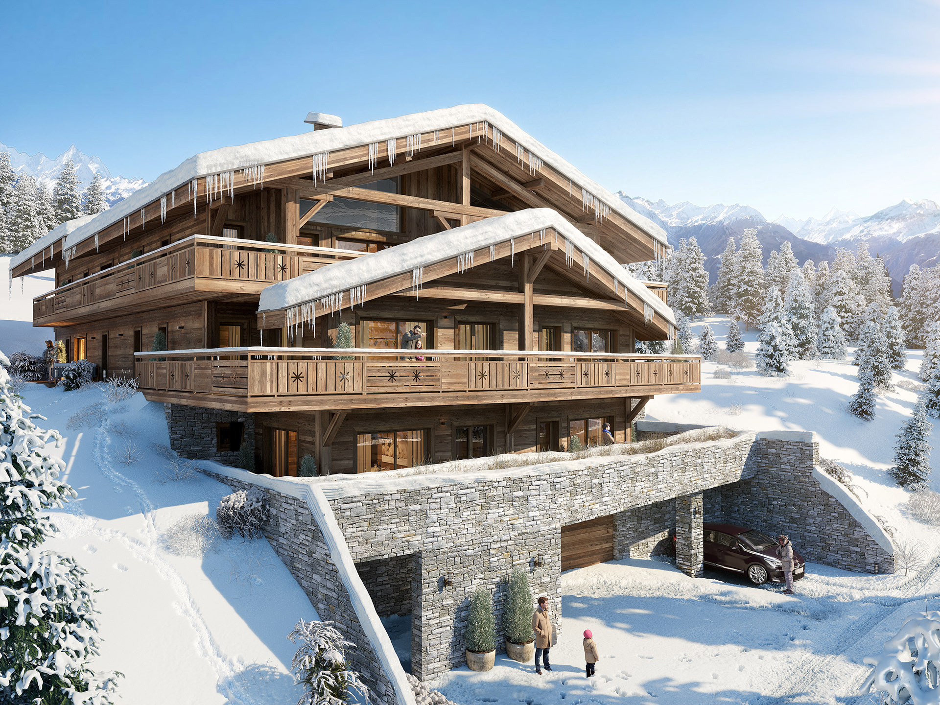 3D visualization of a luxury chalet in winter, in the snowy mountain