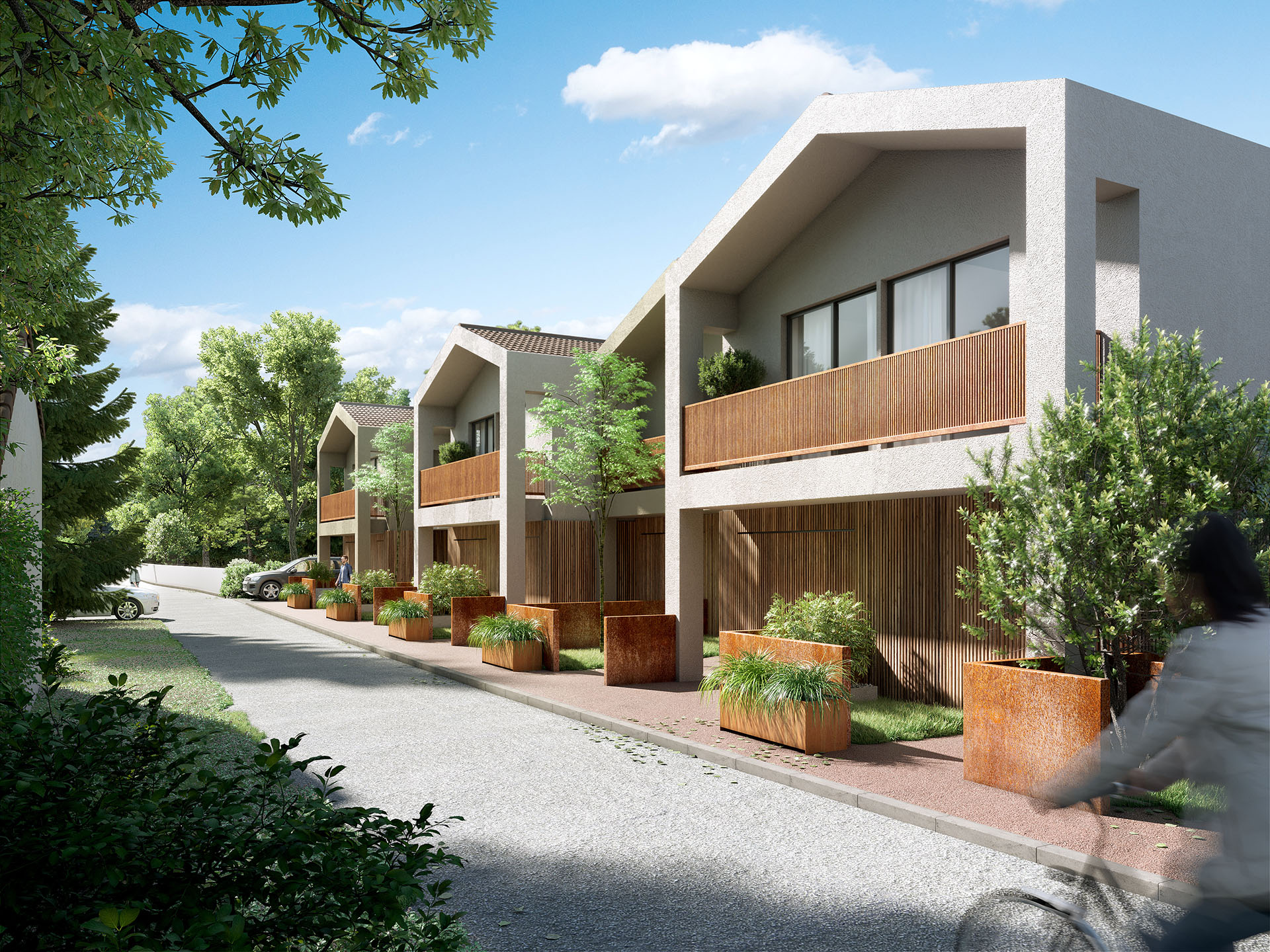 3D representation of modern terraced houses