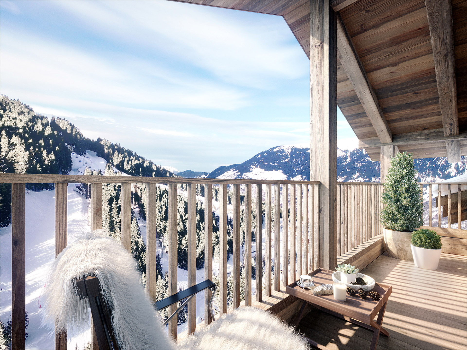 3D computer graphics of the terrace of a mountain chalet