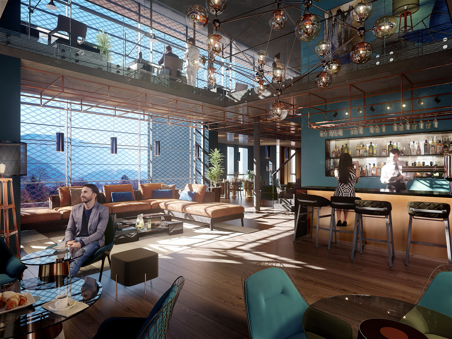 3D visualization of the interior of an industrial-style bar-restaurant