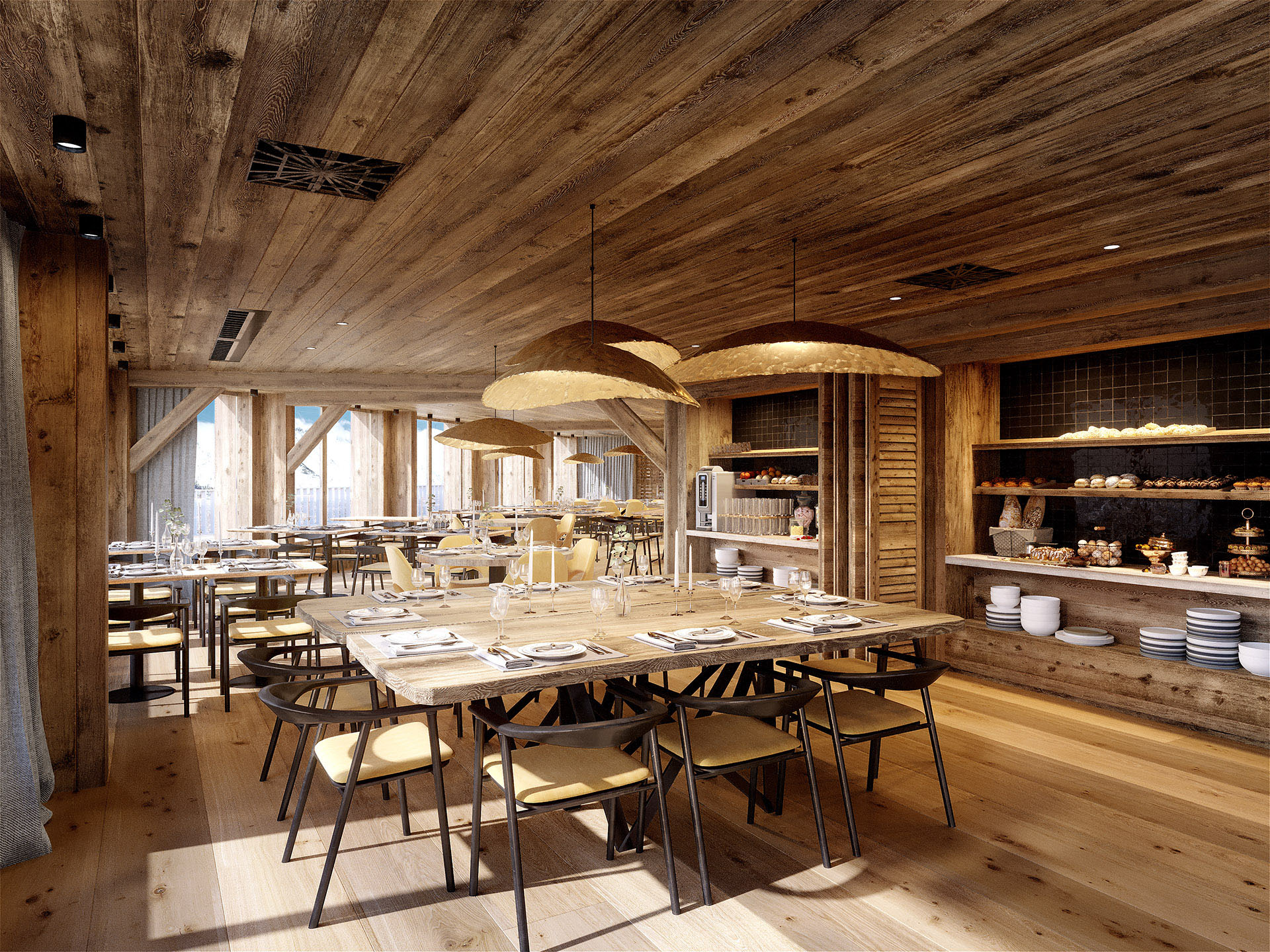 3D computer image of a rustic wooden restaurant in a mountain chalet