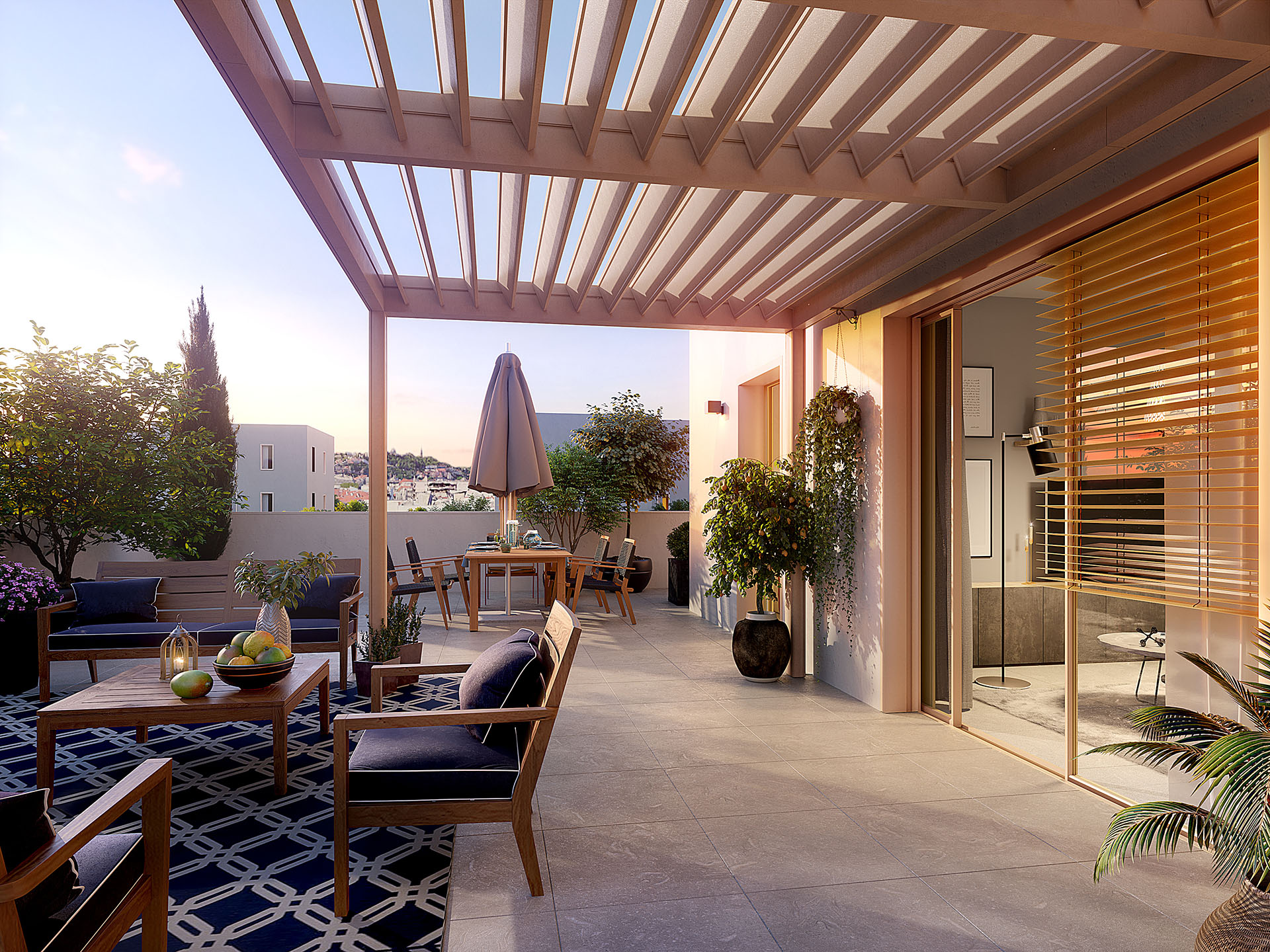 3D synthesis image of the terrace of an apartment