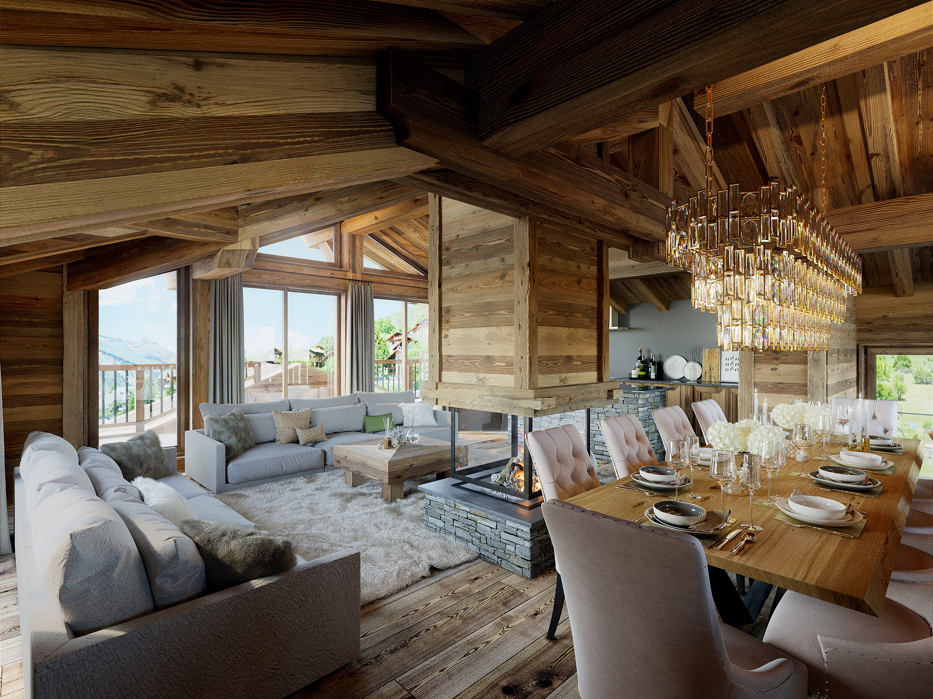 3D image of a rustic and modern apartment in a chalet
