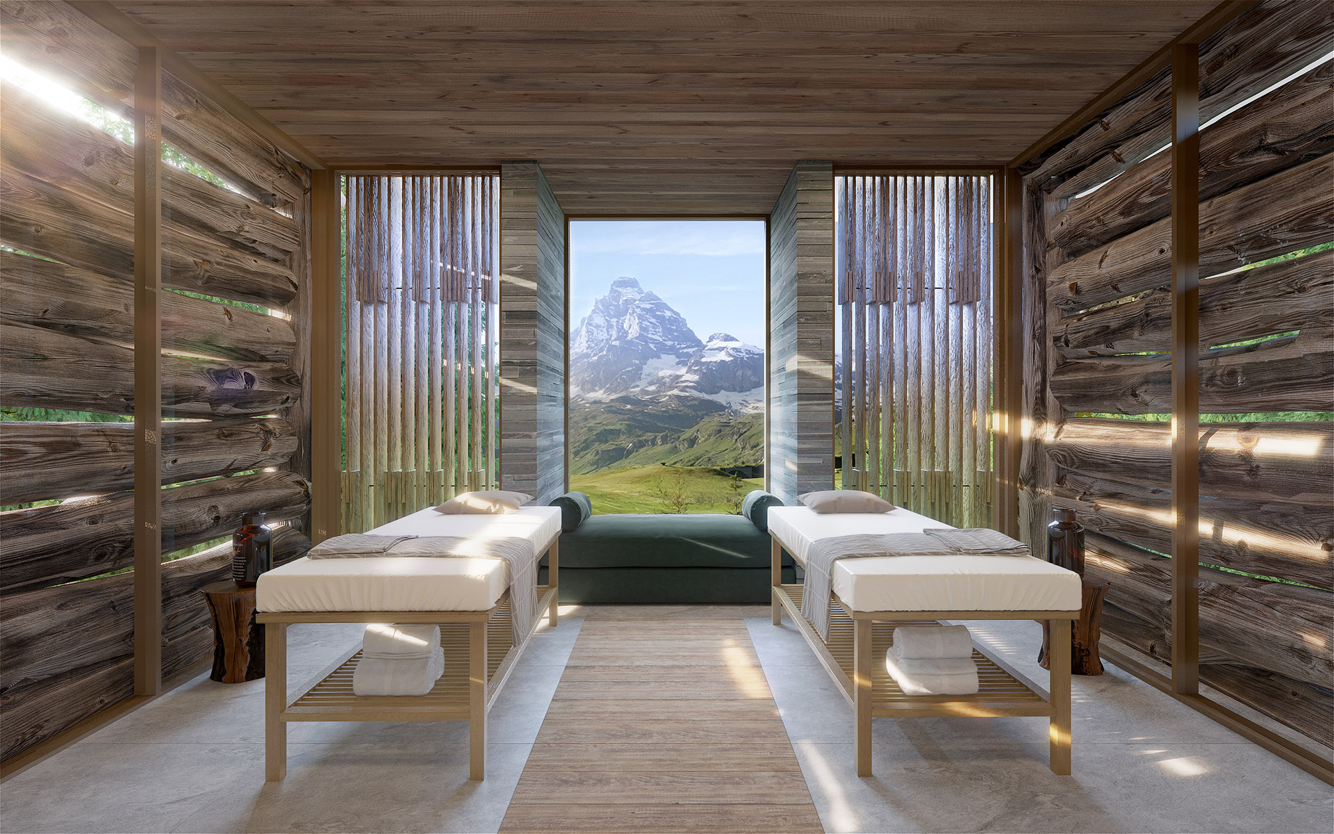 3D perspective of a luxurious massage room in a Swiss chalet