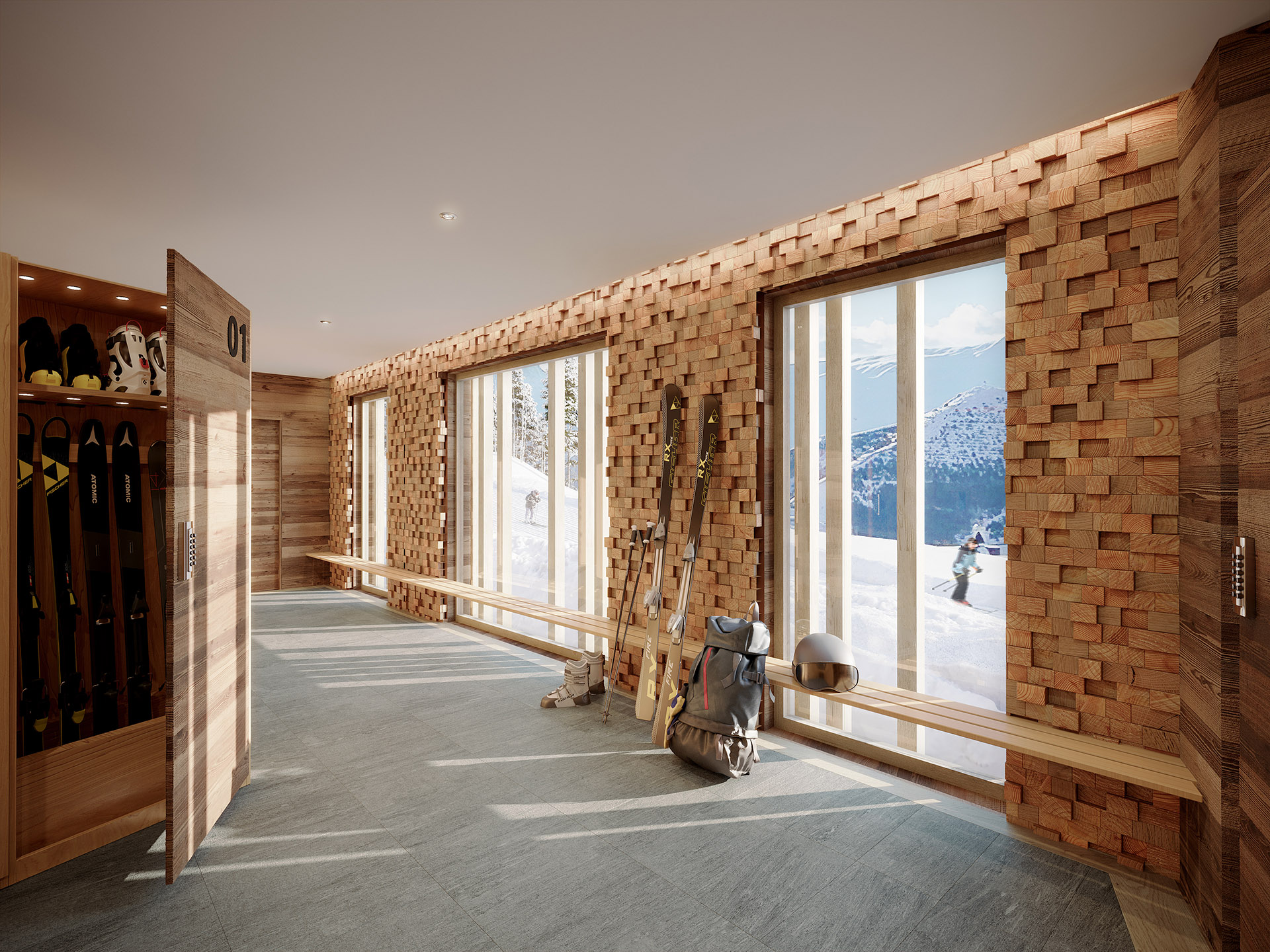 3D representation of a modern ski room in a mountain chalet