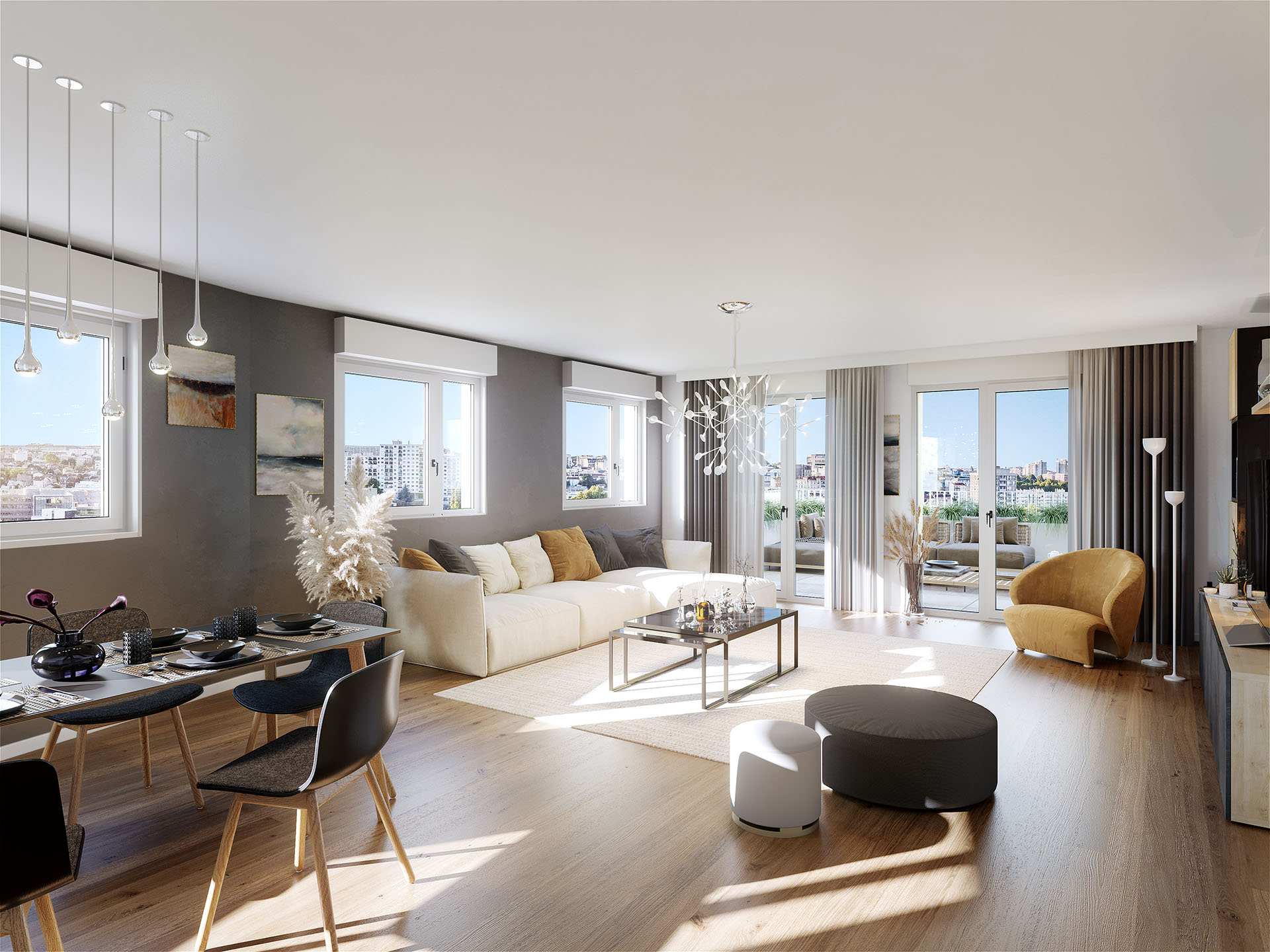 3D representation of a modern living room in Gentilly