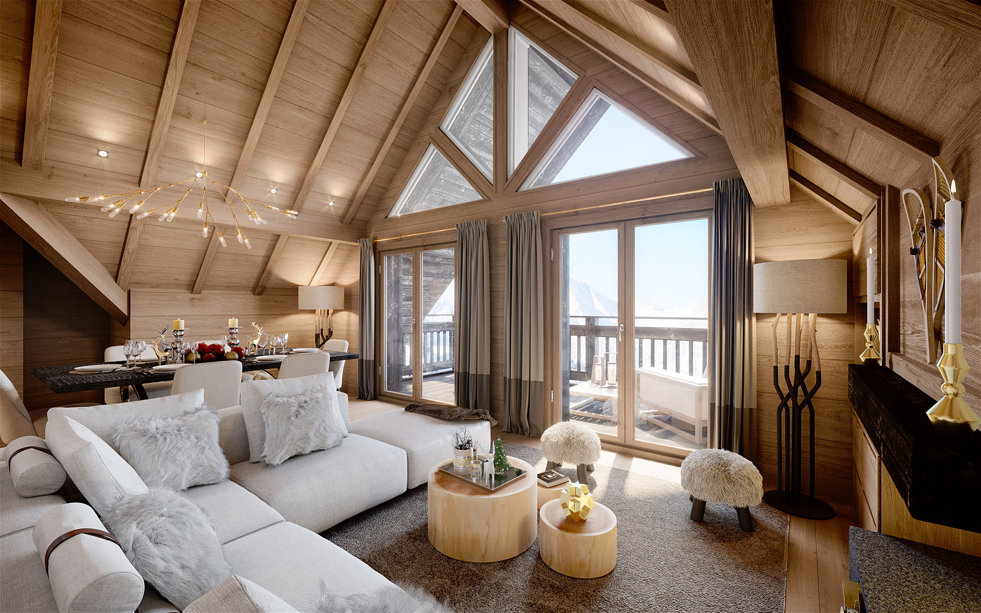 3D graphics of a living room in a rustic and luxurious cottage