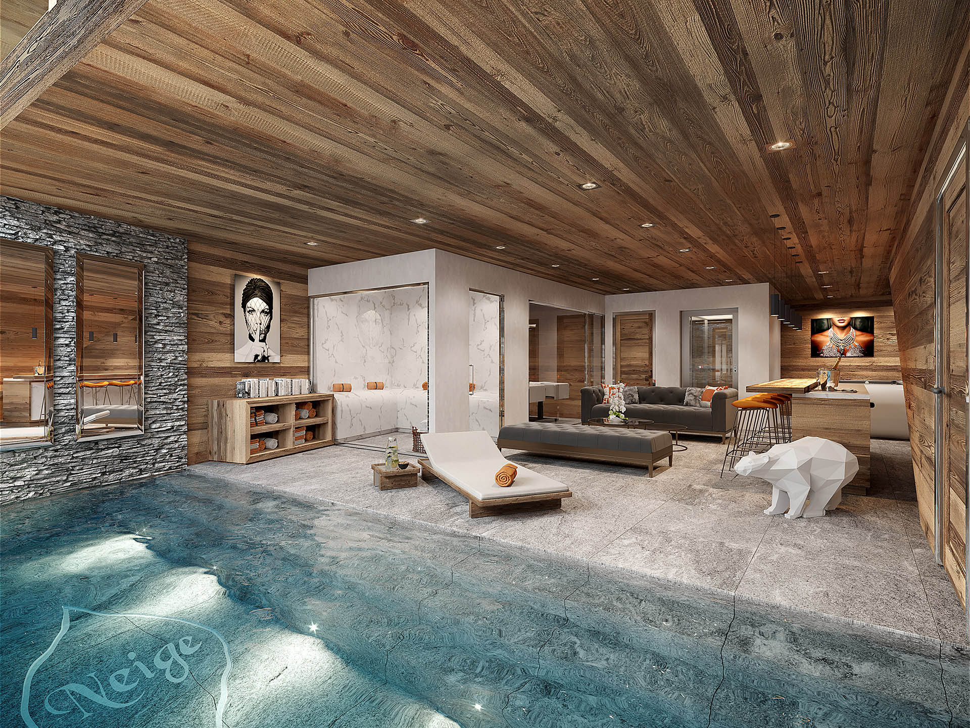 3D creation of a pool inside a mountain chalet