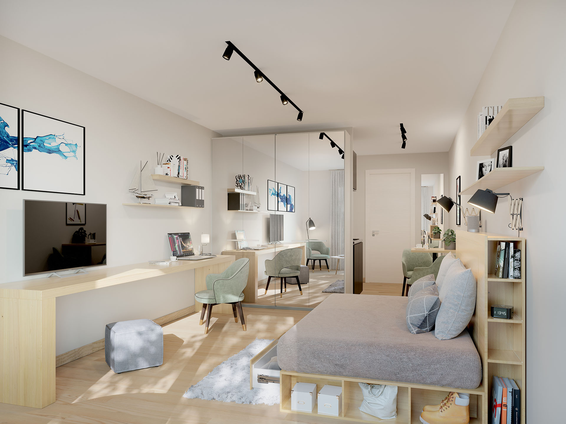 New and modern studio realized in 3D