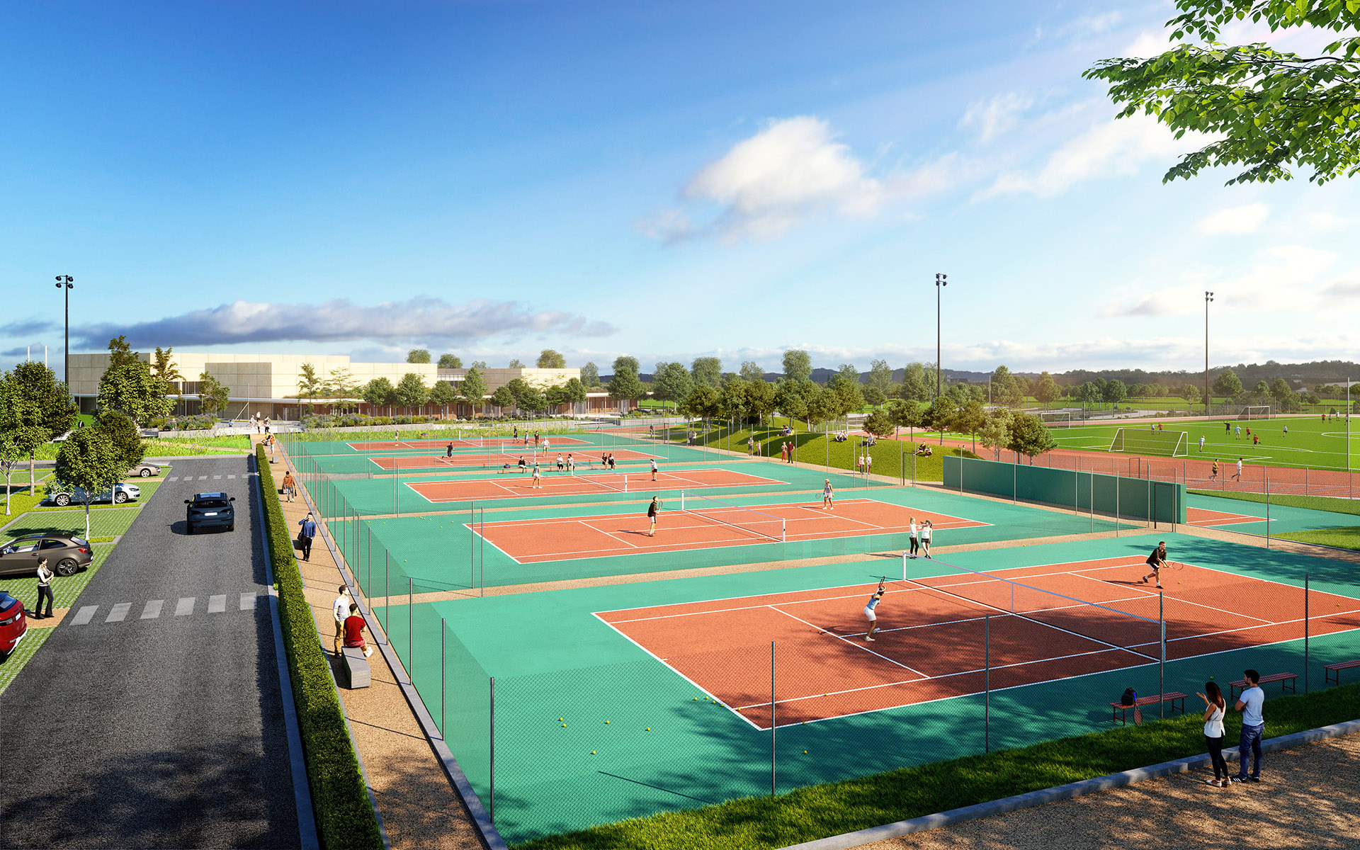 3D rendering of outdoor tennis courts, integrated in the environment