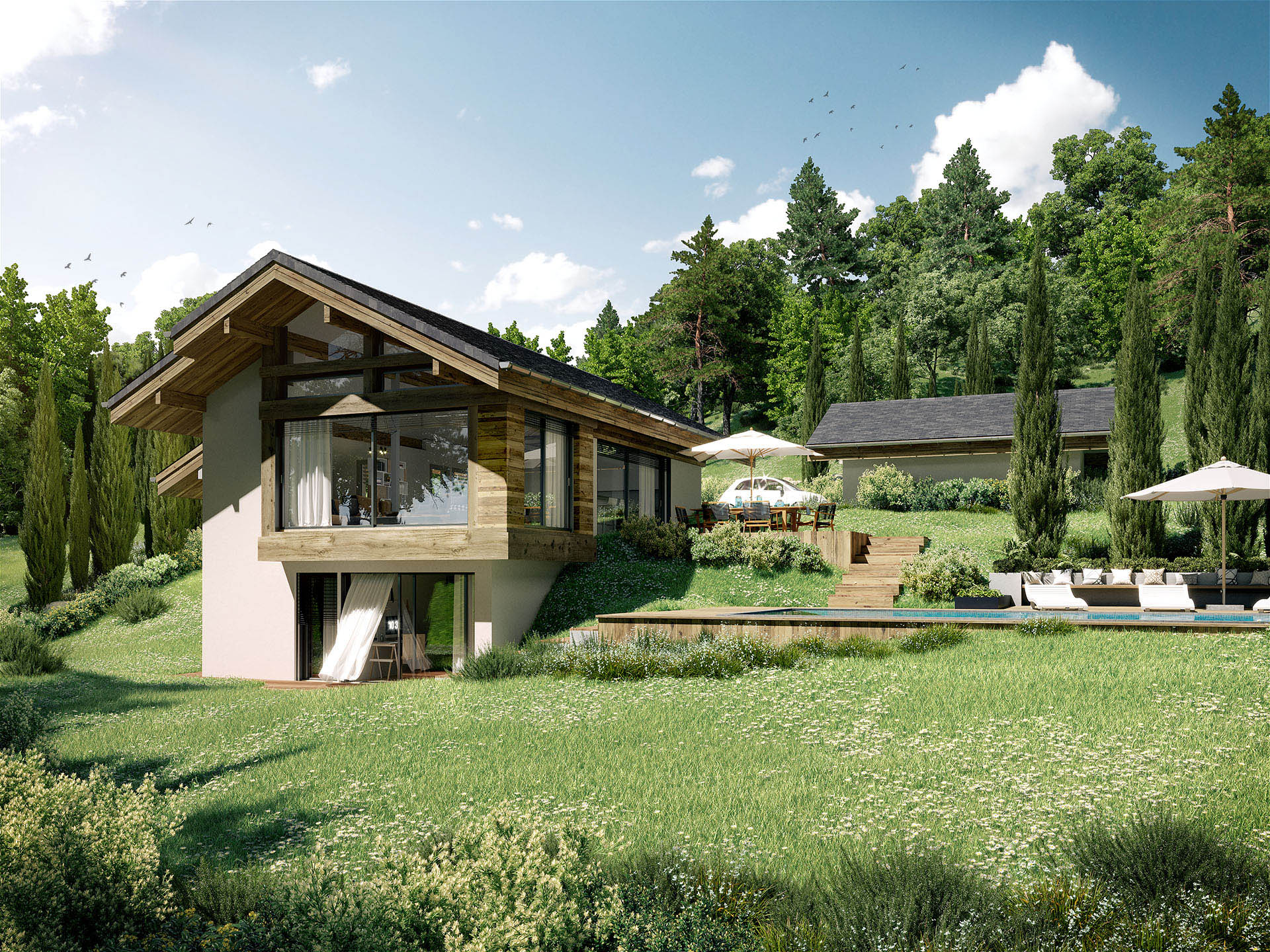 3D realization of a luxurious and modern villa in the countryside