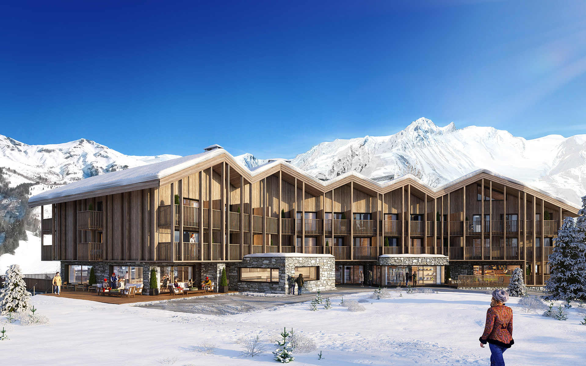 3D representation of the exterior of a chalet-type hotel