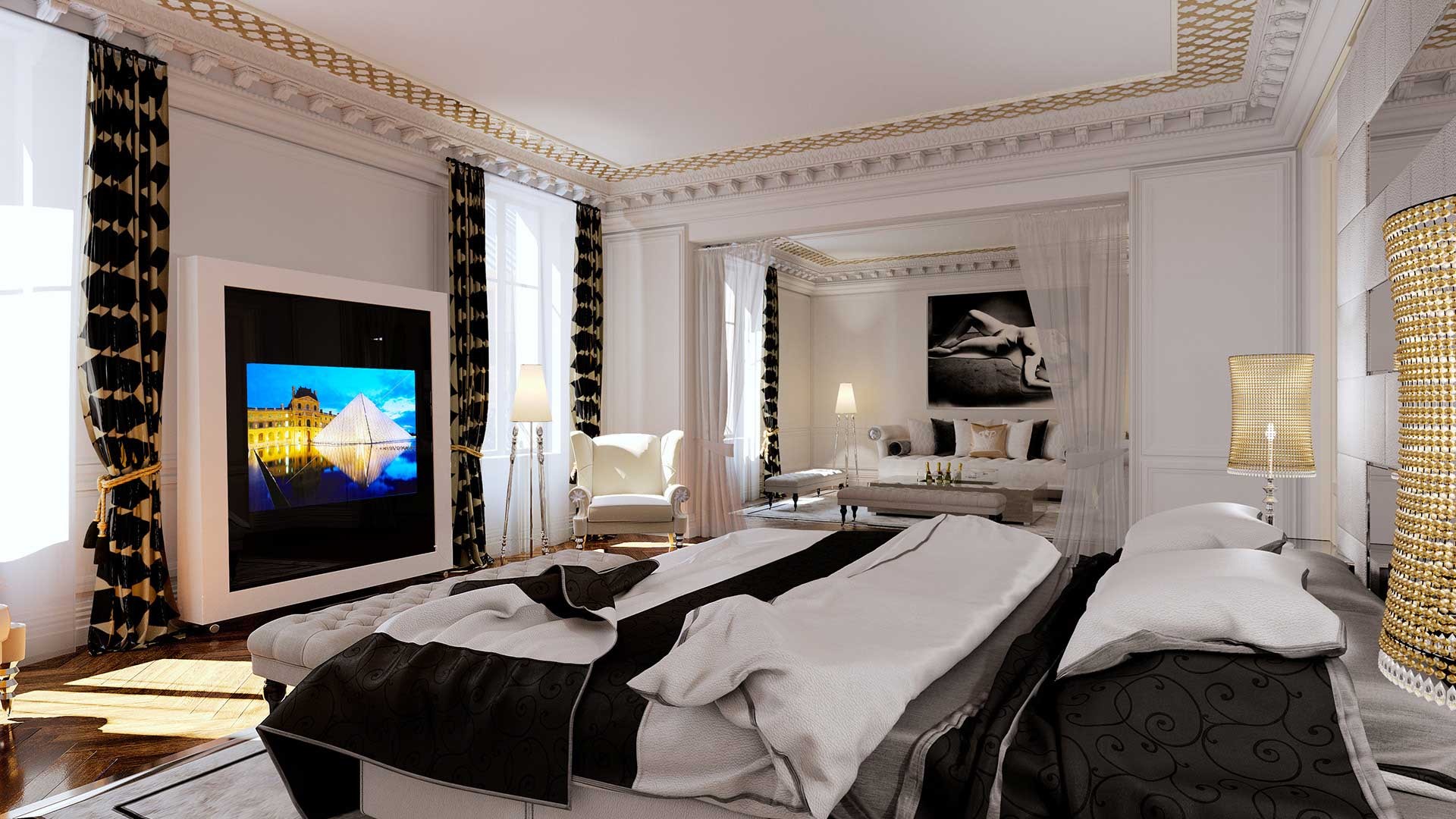 Agency creation 3D visuals for an architectural project : 3D photo apartment Haussmann