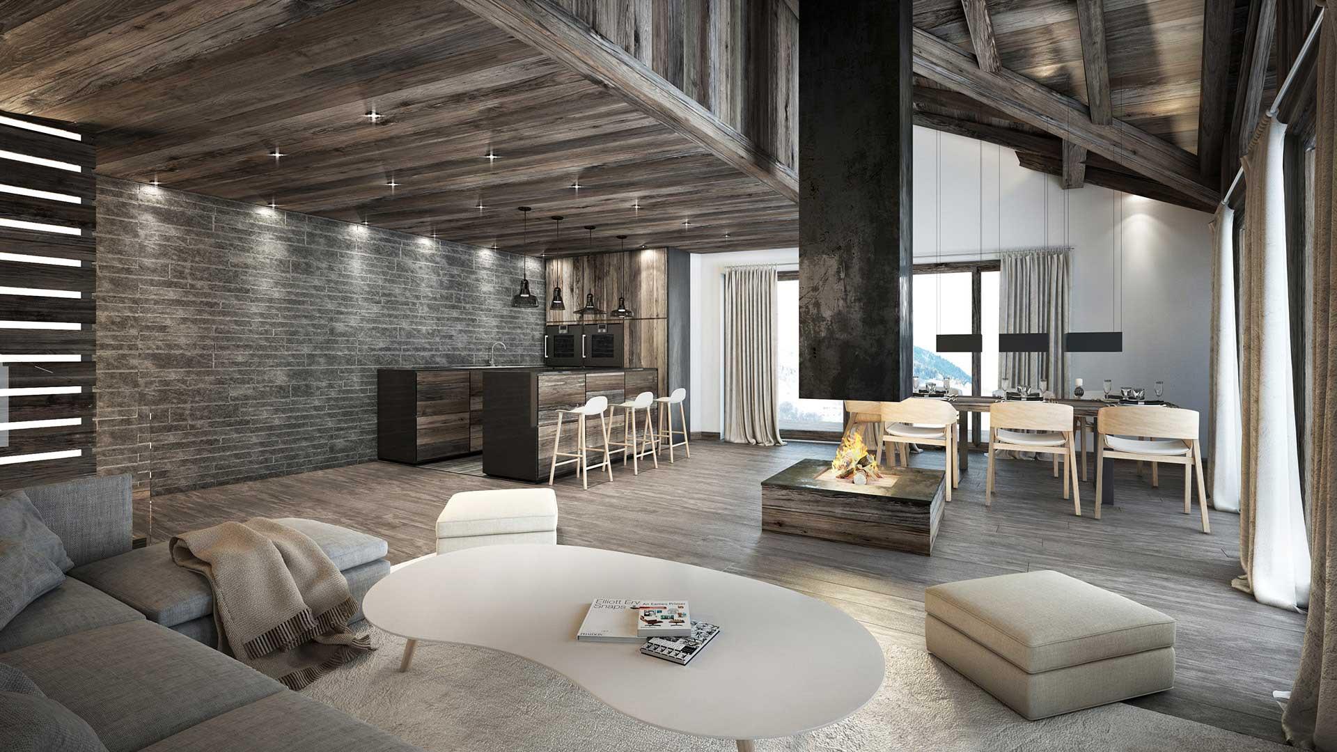 Vue 3D d'un appartement de luxe à Comboux.