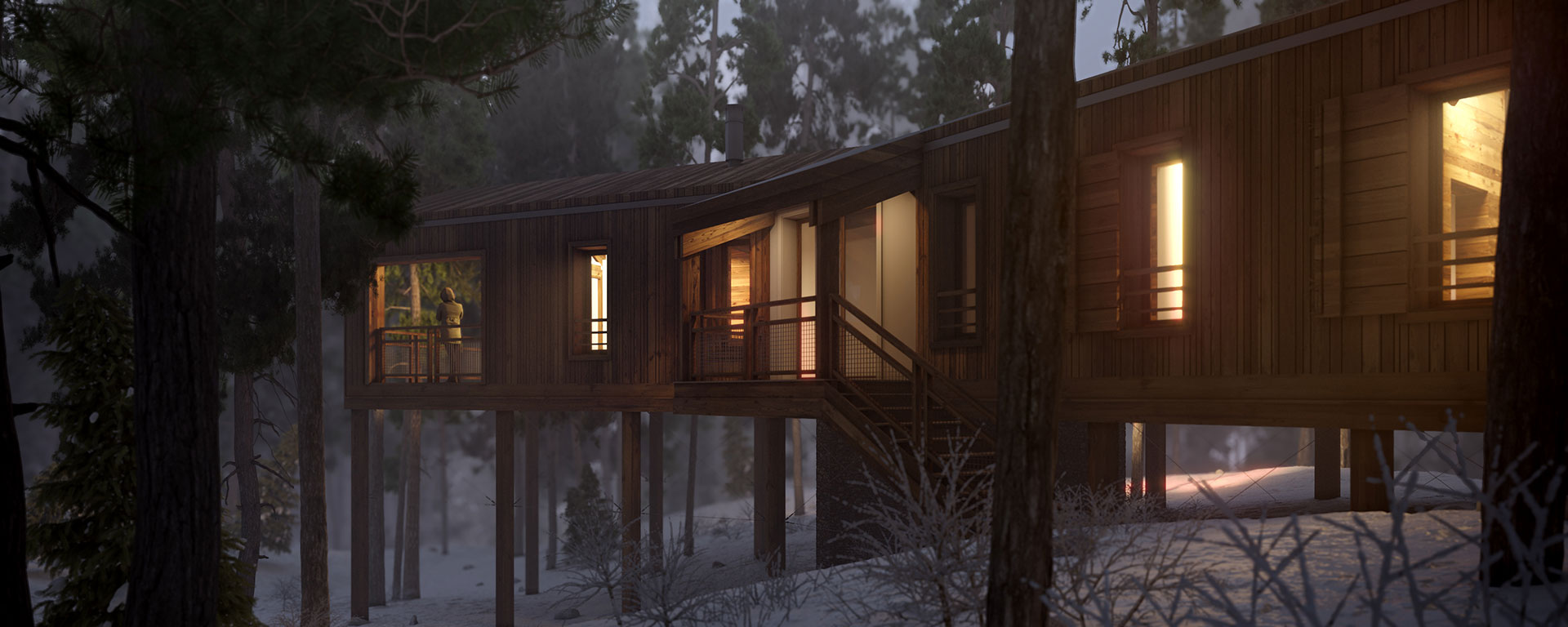 Visualization in 3D of the exterior of a highend cabin