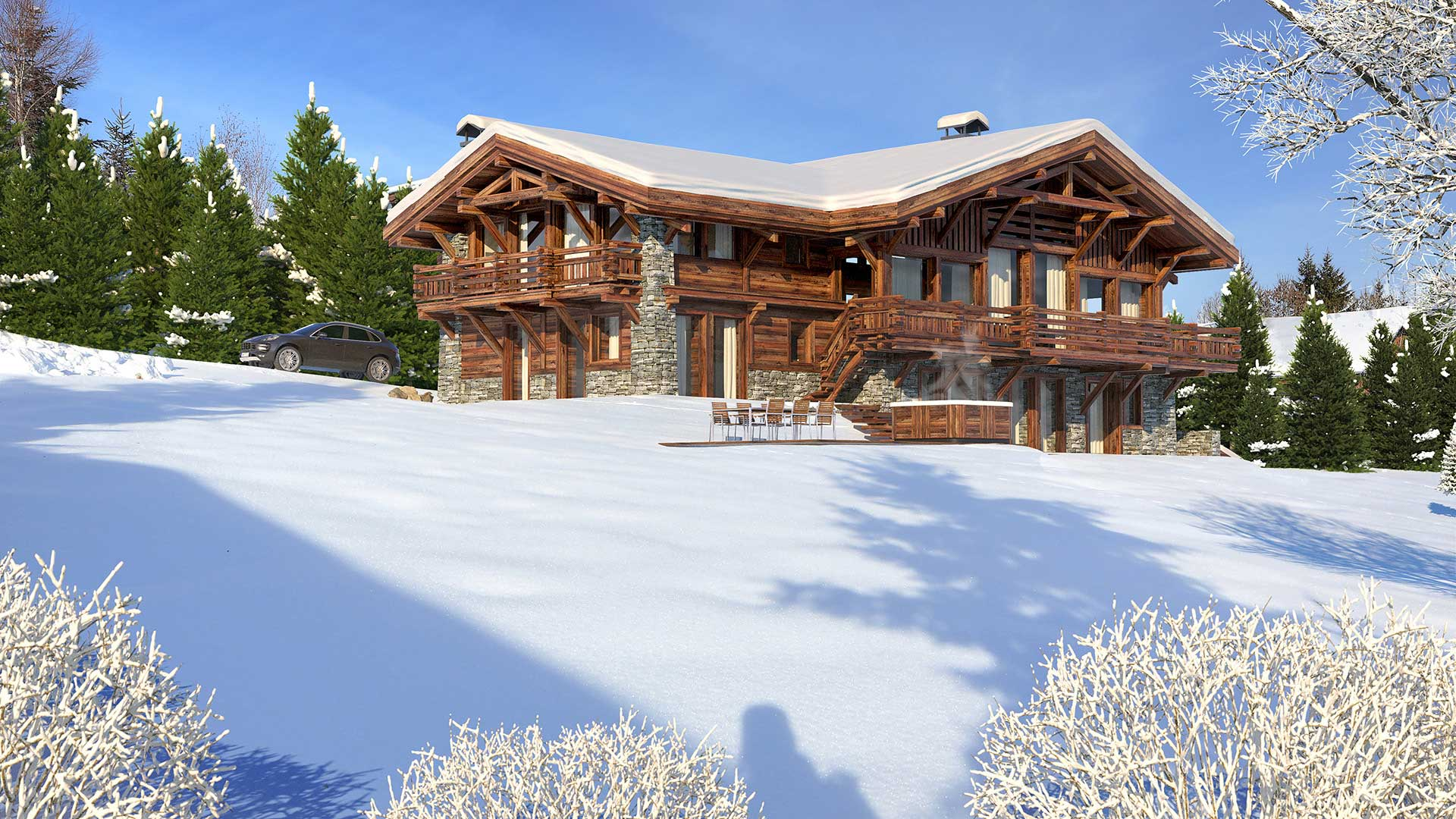 Computer generated image perspective of a luxurious chalet in the mountains.