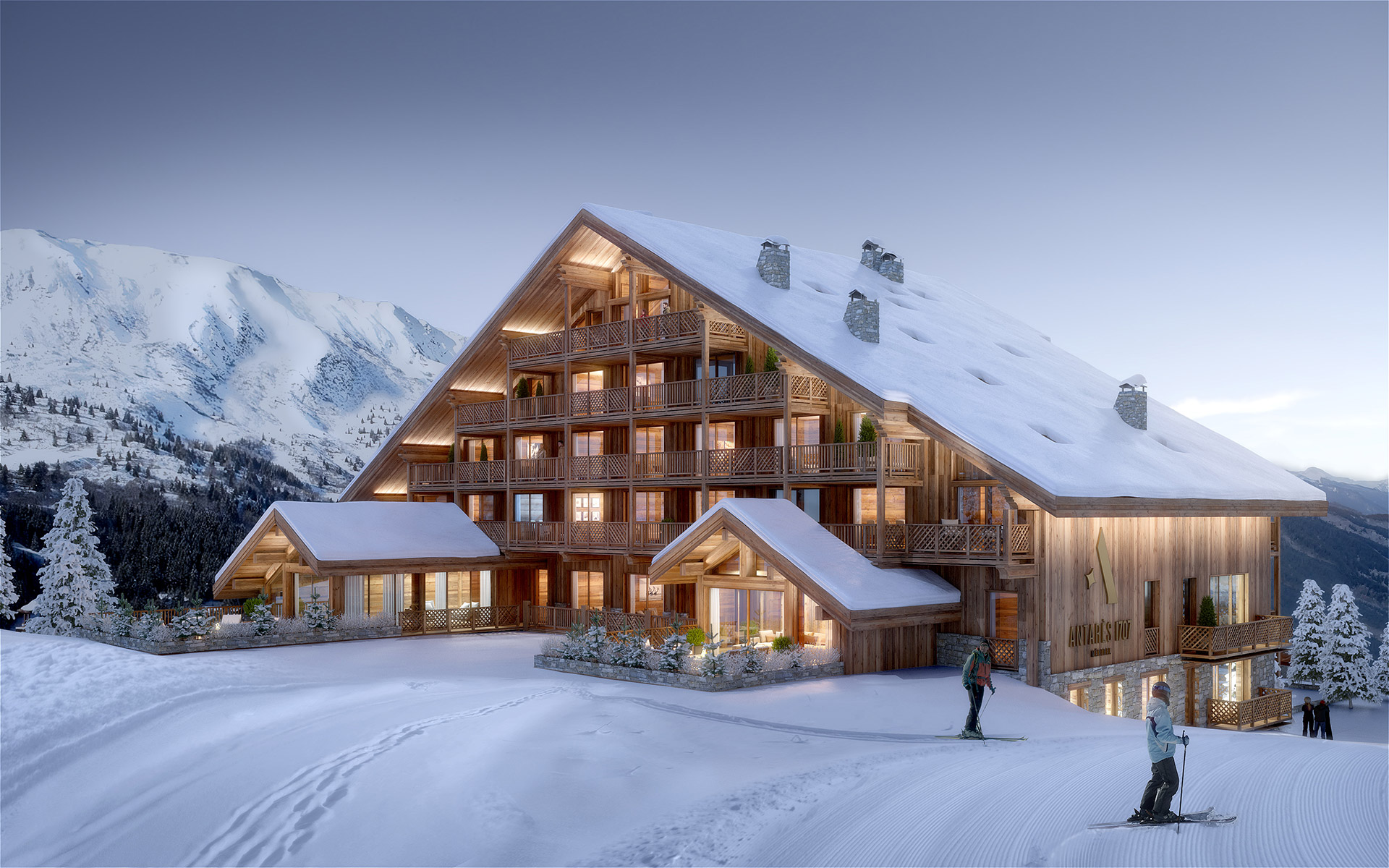 Exterior 3D architectural visualization of a chalet-hôtel in Megève