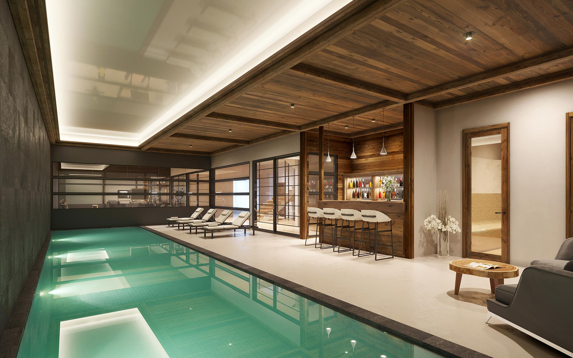 3D Synthesis image of a pool in a luxury mountain chalet