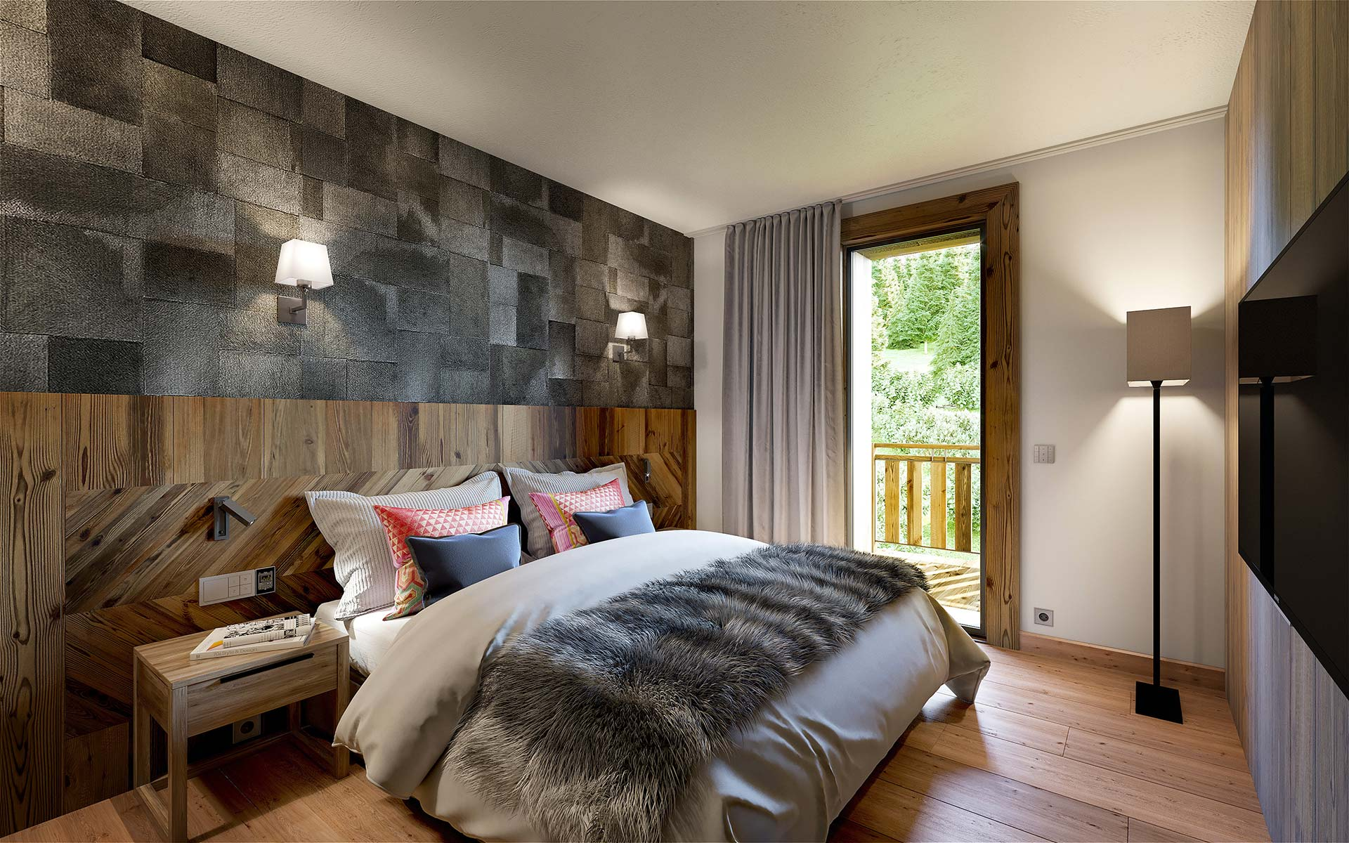 3D interior render of a chalet bedroom