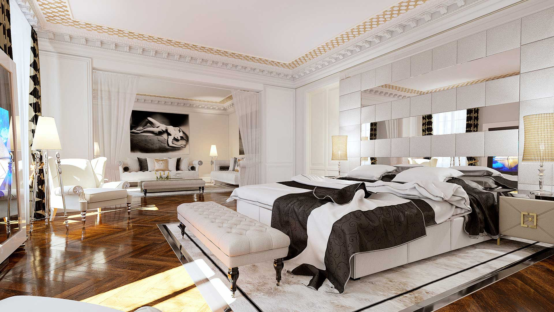 3D photo of a room with a decoration (Haussmannian type).