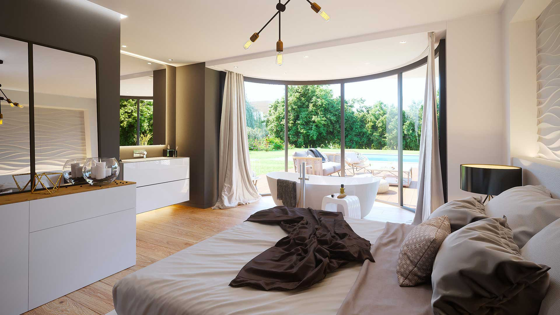 3D Real estate project promotion : room of a luxurious villa in Switzerland.
