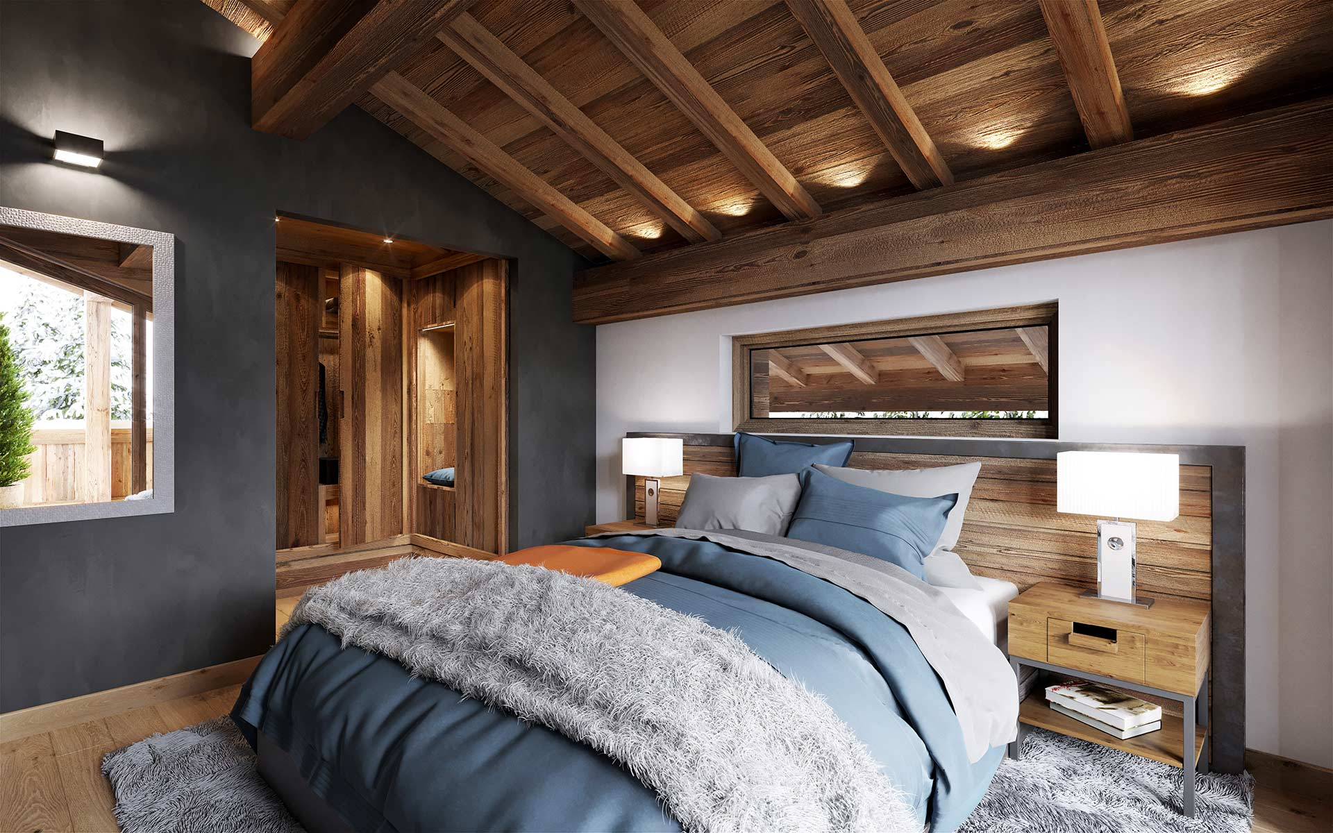 3D interior render of a luxury room in a Chalet