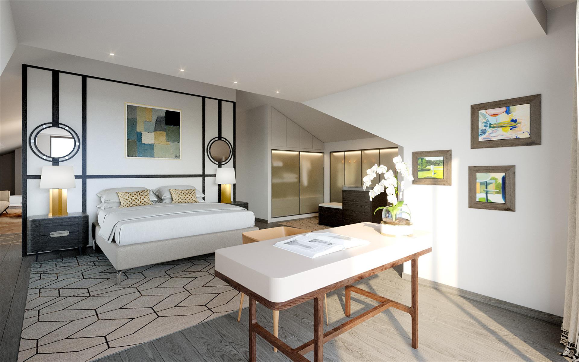 3D Photo of a room for villa real estate development