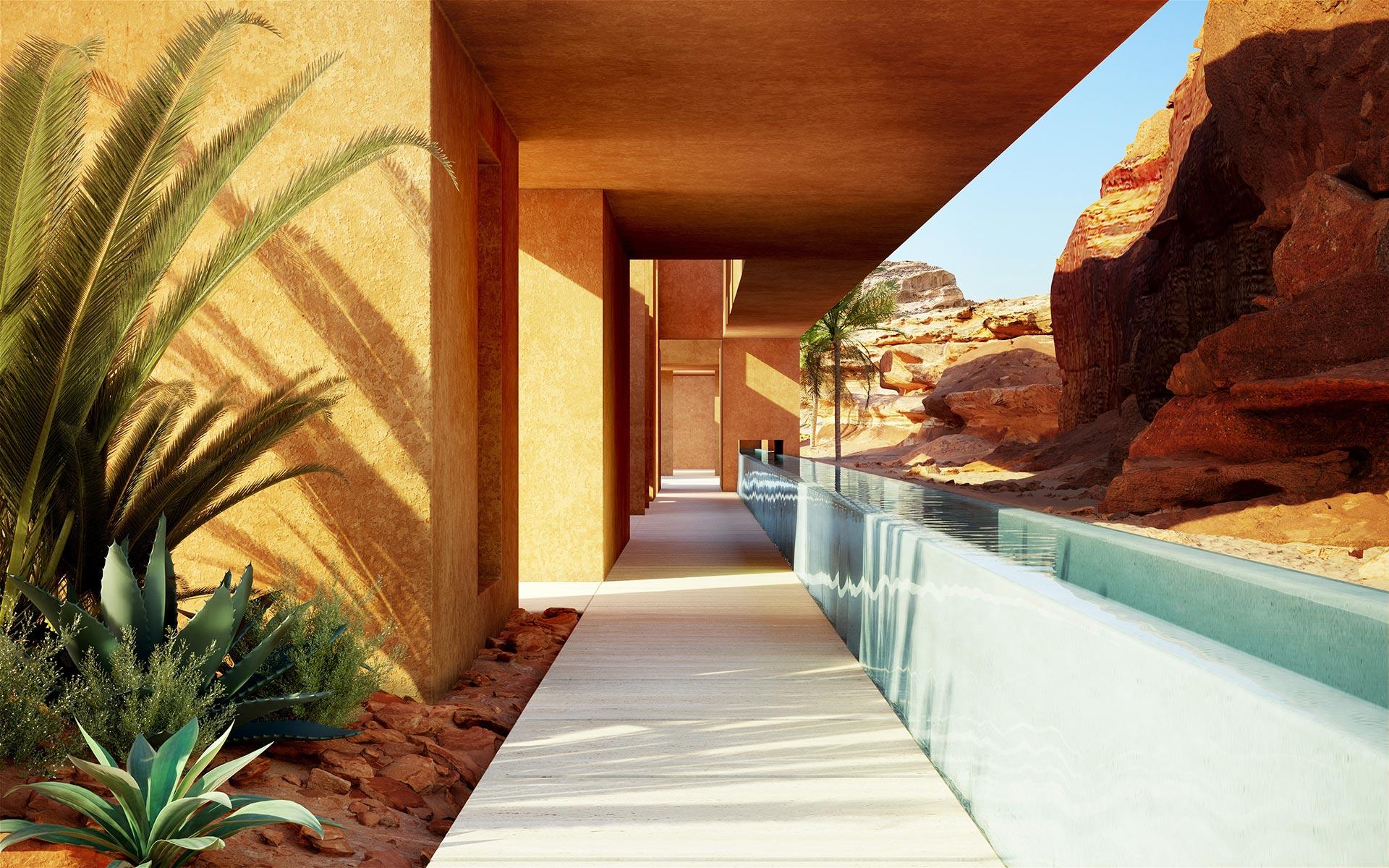 3D Photo of a villa exterior hallway in Morocco