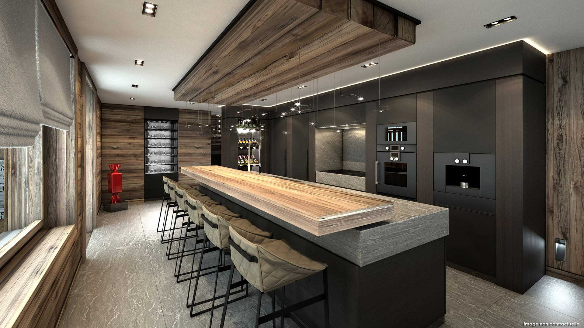 Rendering of a 3D view : kitchen of a luxurious chalet in the mountains.