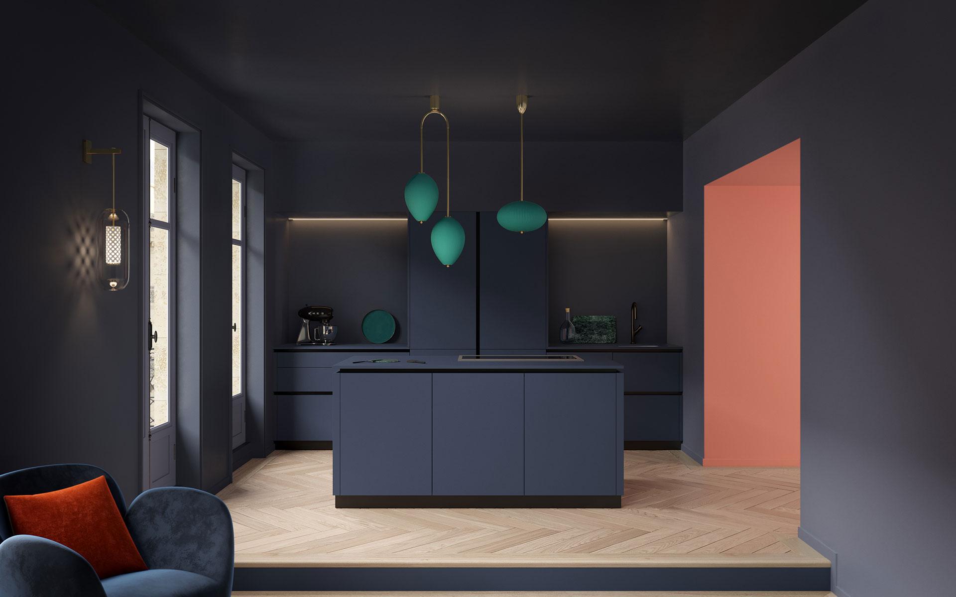 Vue 3D d'une cuisine moderne pour un projet publicitaire
