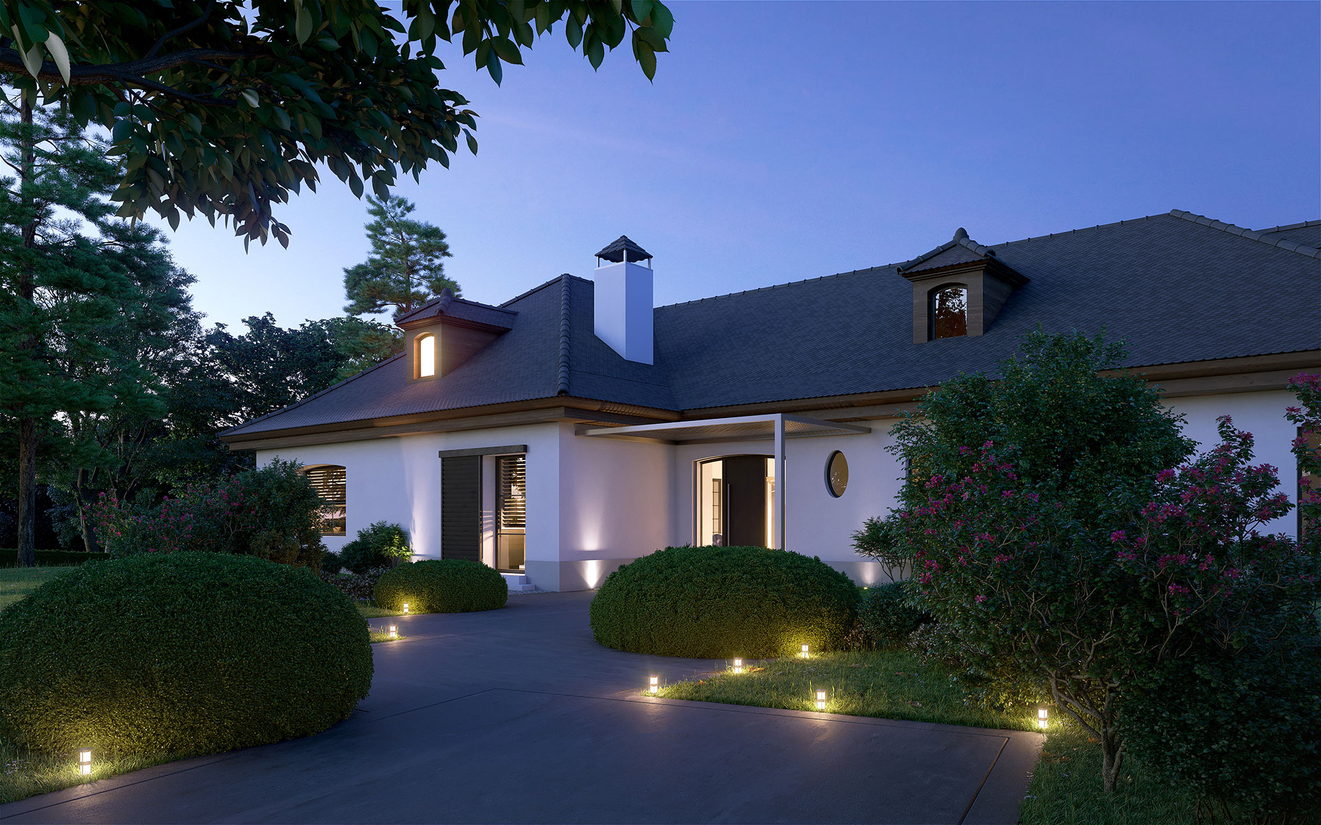 3D visualization of a luxurious home entrance at sunset