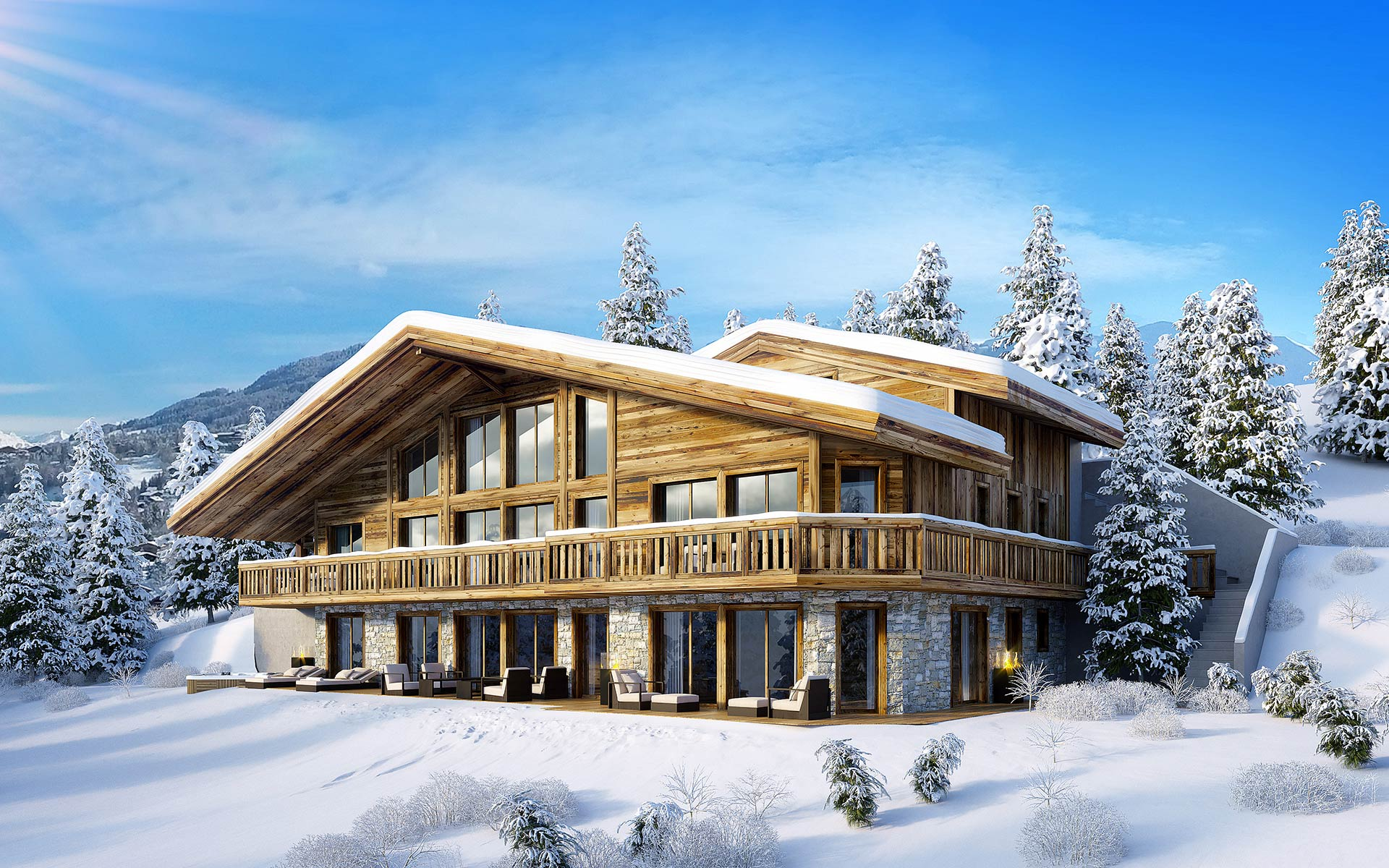 3D image of the exterior of a chalet in Courchevel