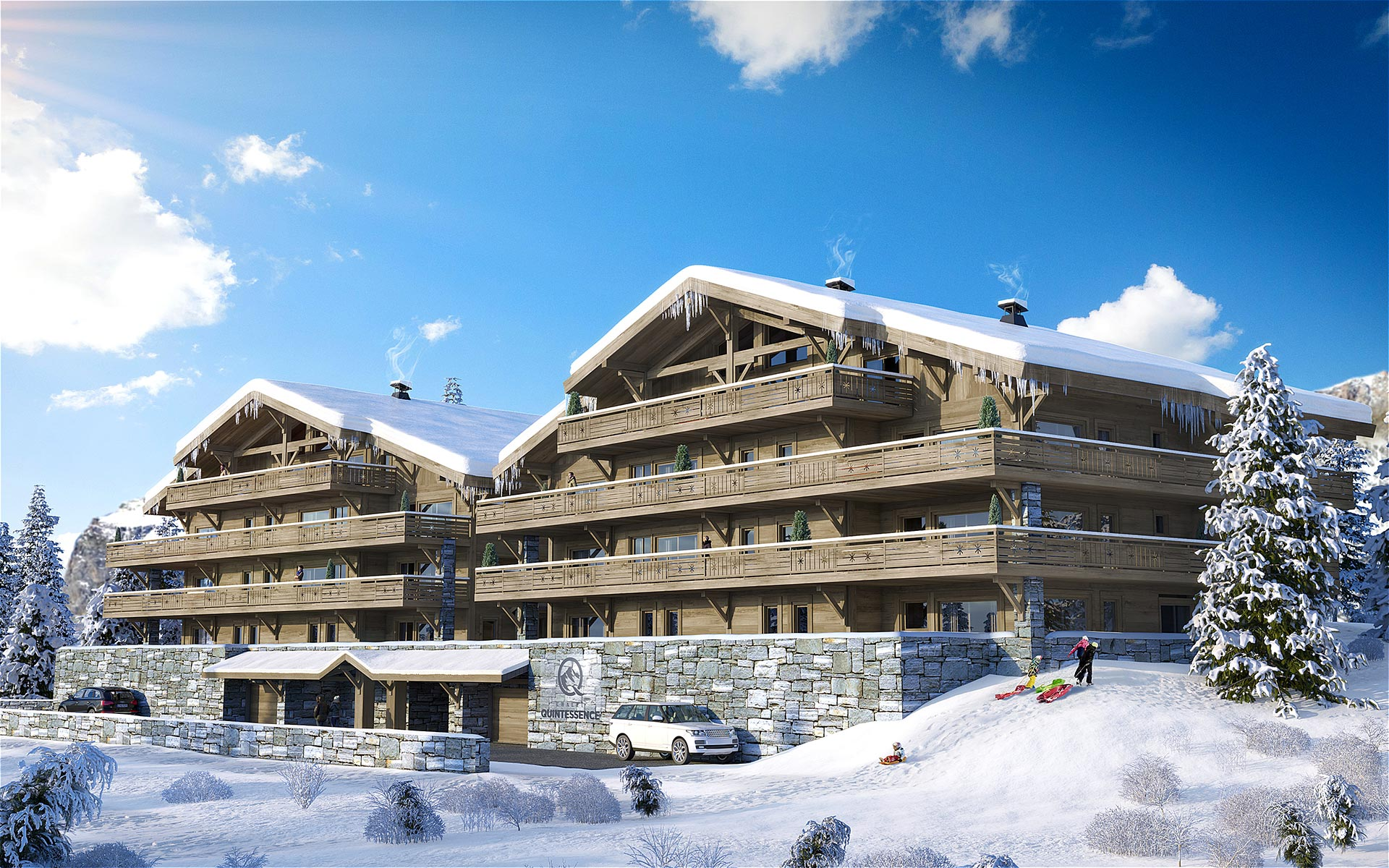 3D architectural visualization of chalet blocks in a snowy environment