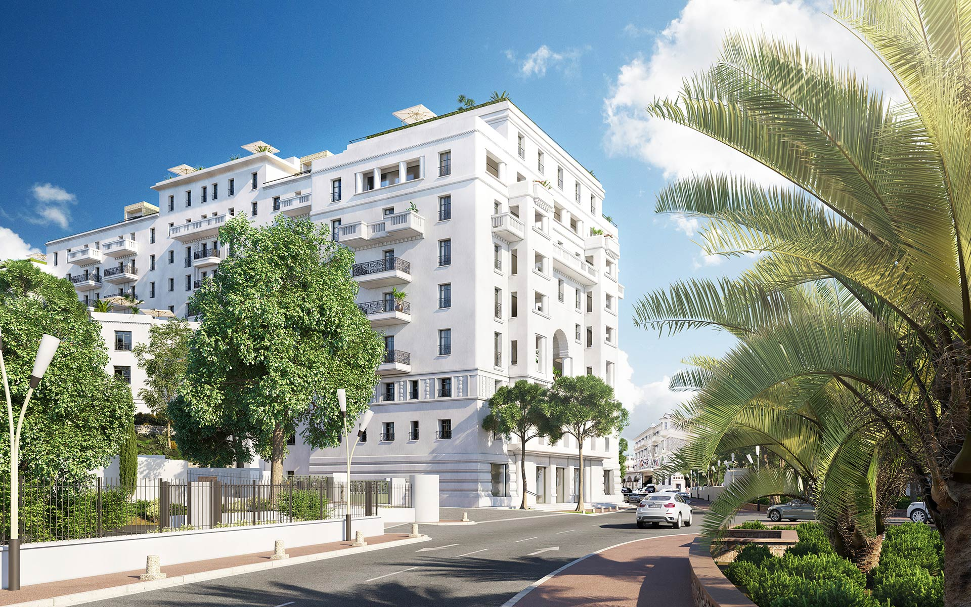 3D Exterior perspective of a hotel in Cannes - Architecture contest