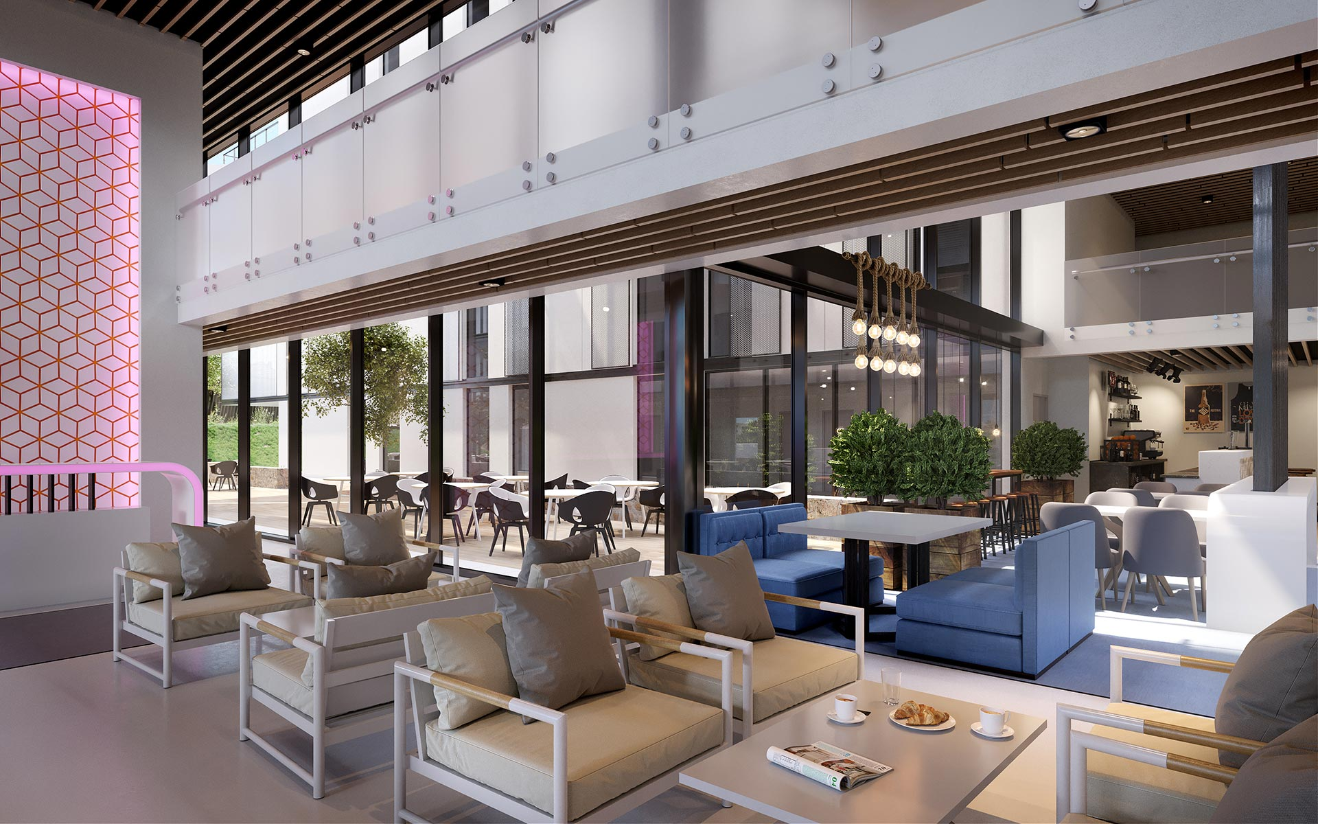 3D lobby perspective for a hotel development project