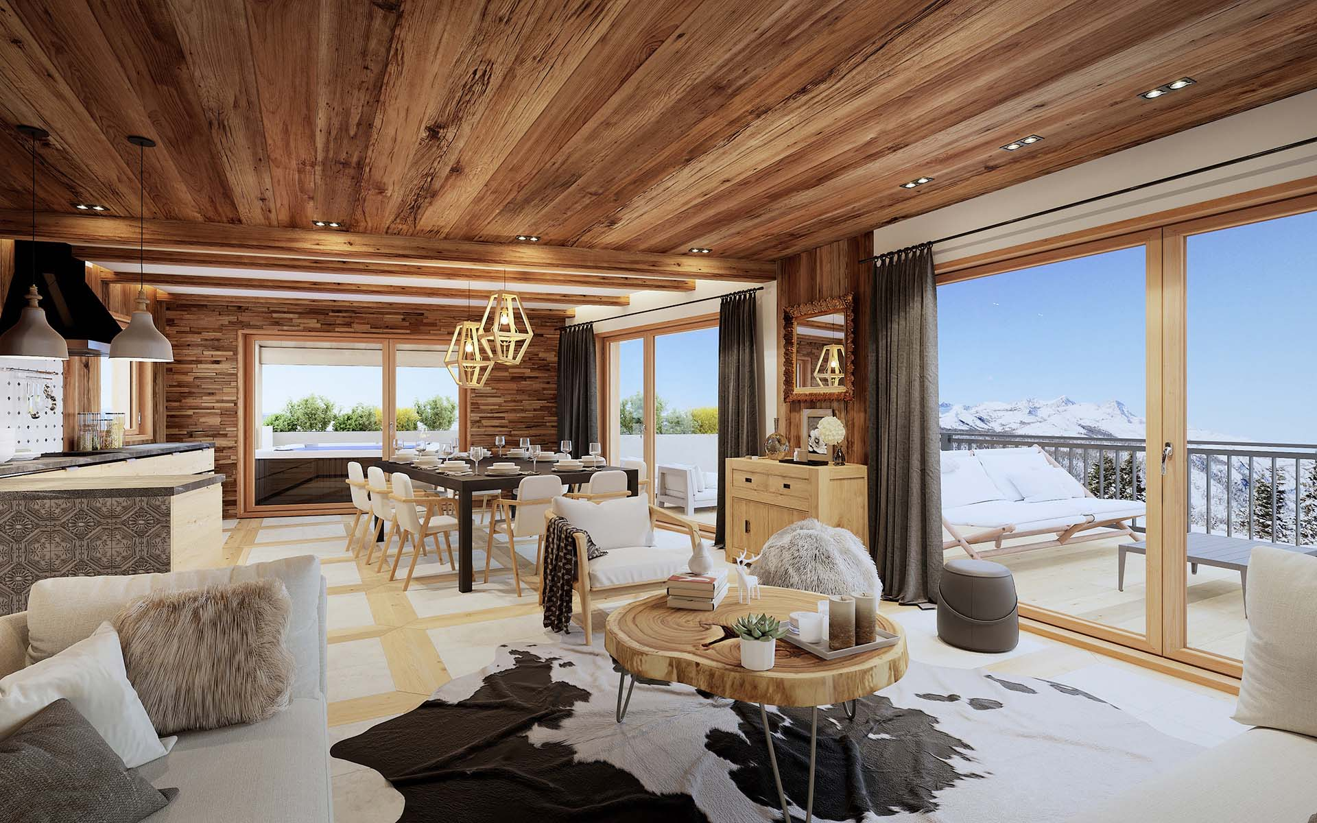 Creation of 3D Graphic designs : marketing real estate promotion, 3D Image of a perspective of a luxurious apartment.