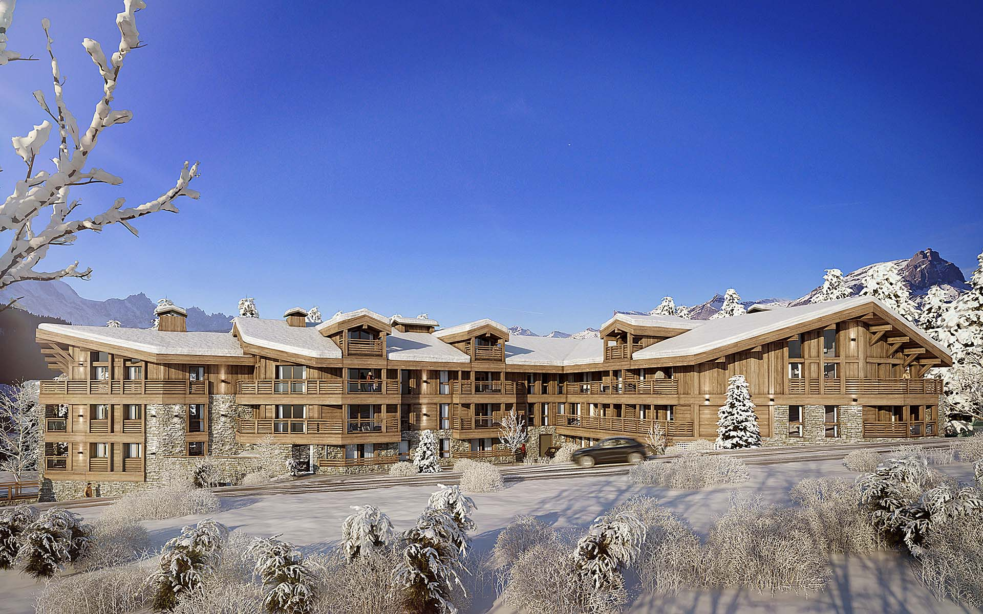 3D Perspective of a real estate project of a luxurious chalet for a private individual.