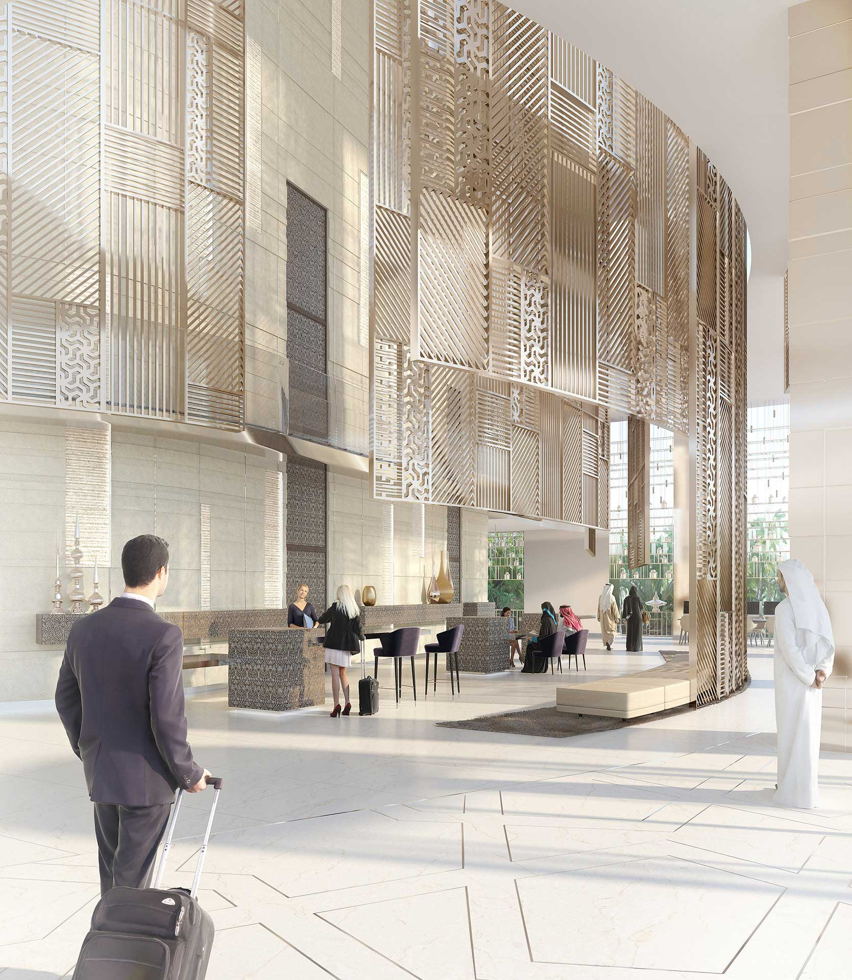 Photo réaliste lobby en image de synthèse - infographie 3D.