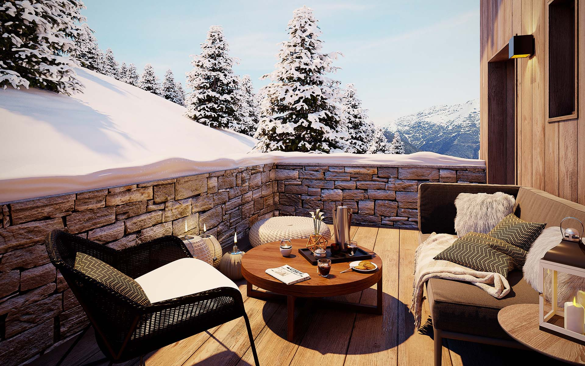 Marketing agency 3D creation : Terrace made from computer generated images, luxurious real estate project.