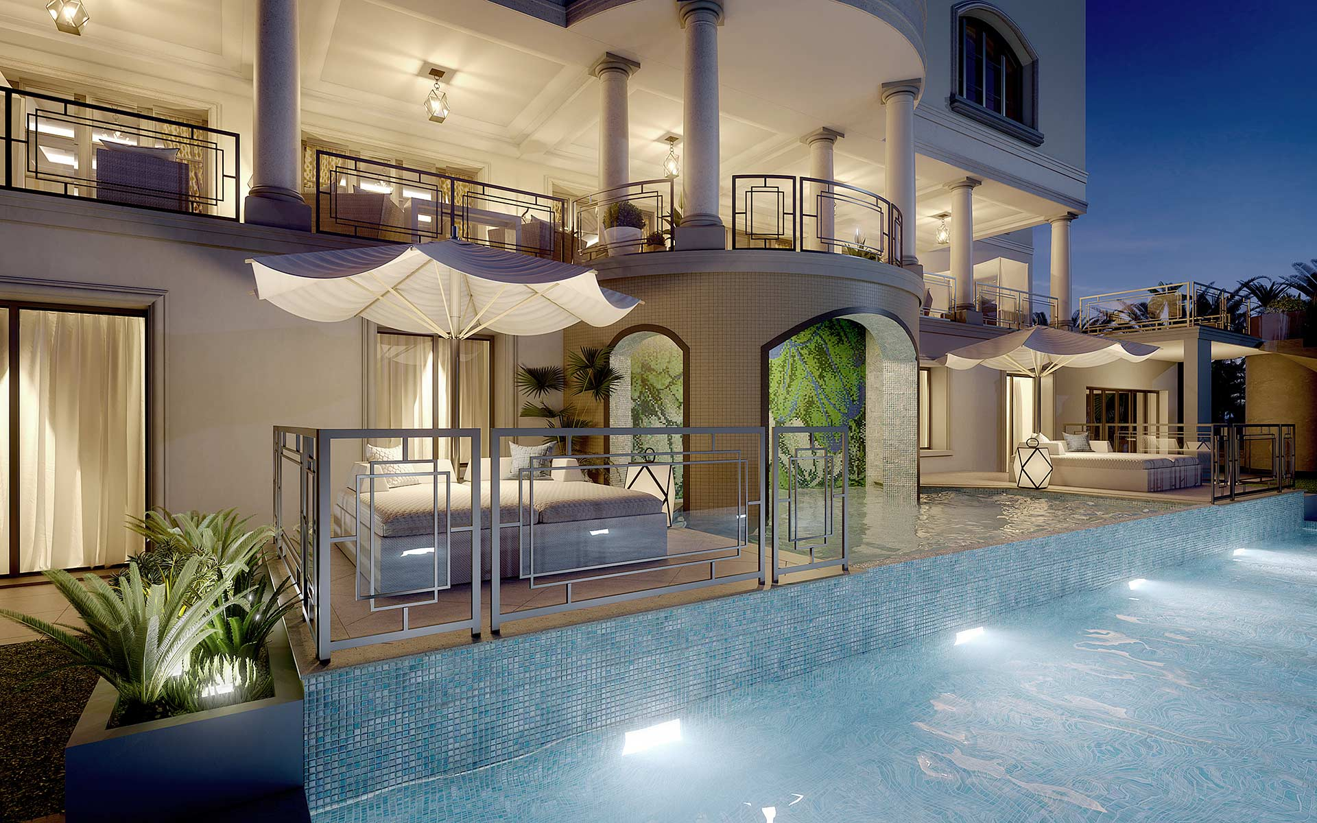 3D synthesis image of a pool villa by night