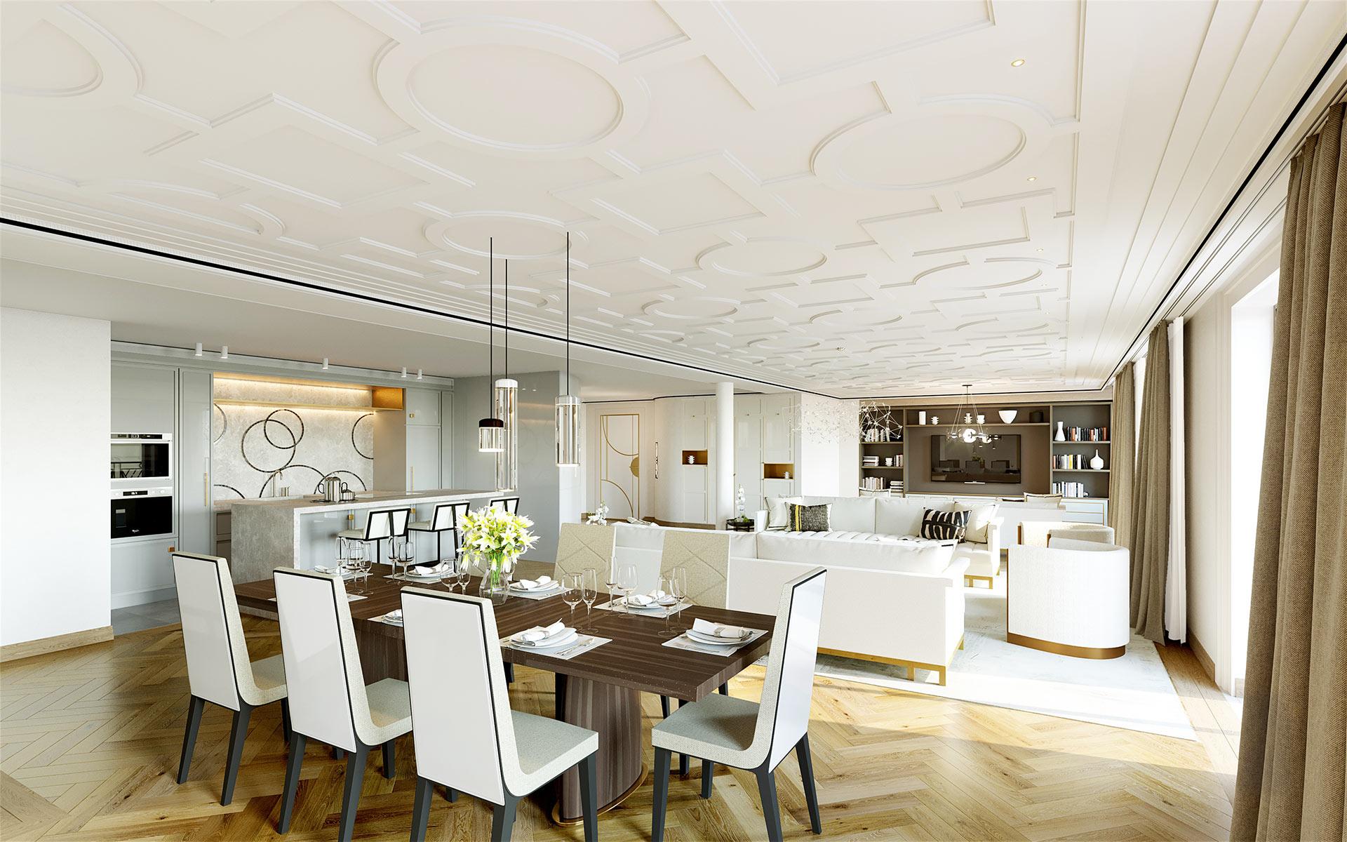 Lunchroom perspective in a luxury villa