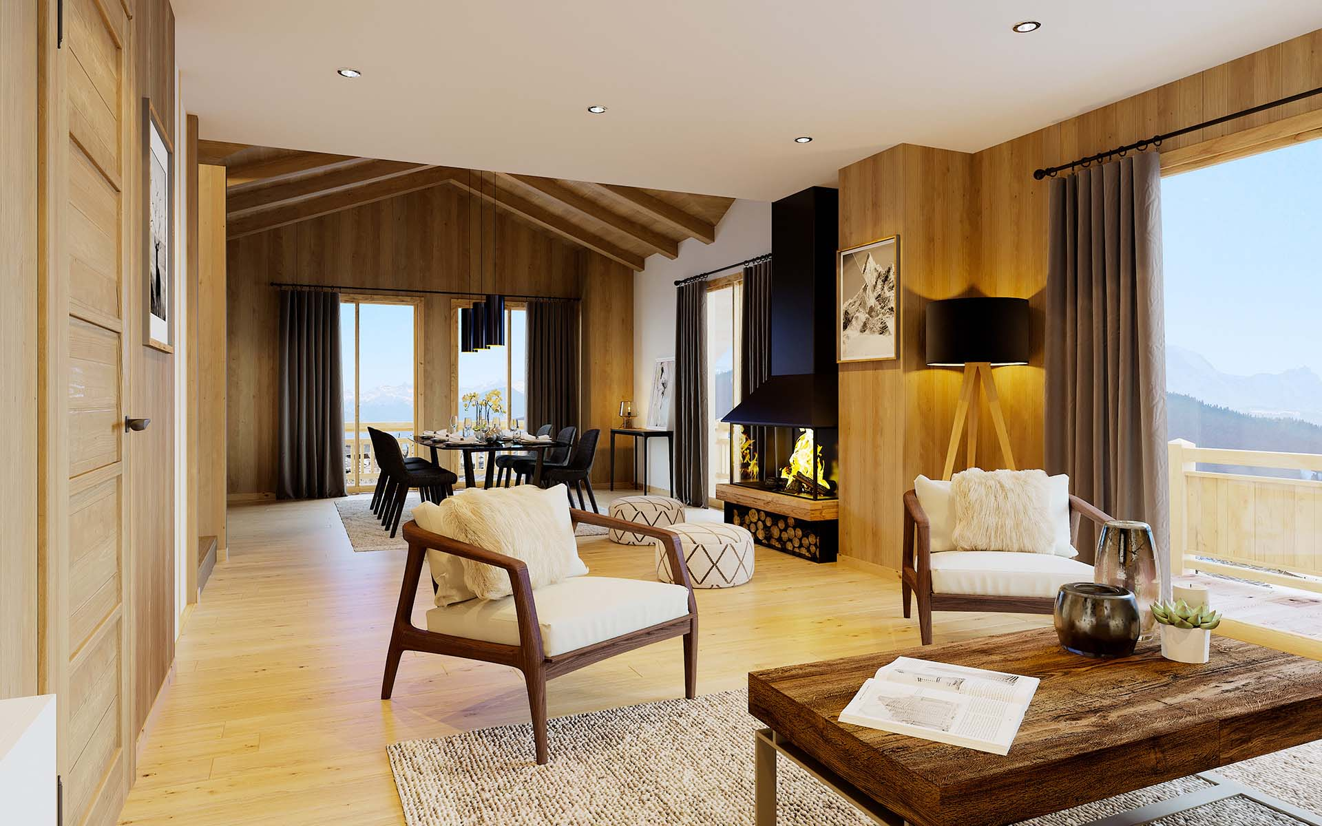 Creation of 3D computer generated images of a luxurious chalet for real estate promotion.
